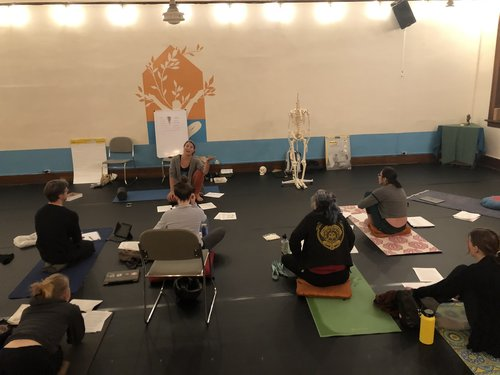 Students in Bellingham learning the Anatomy portion of the 200 hour training