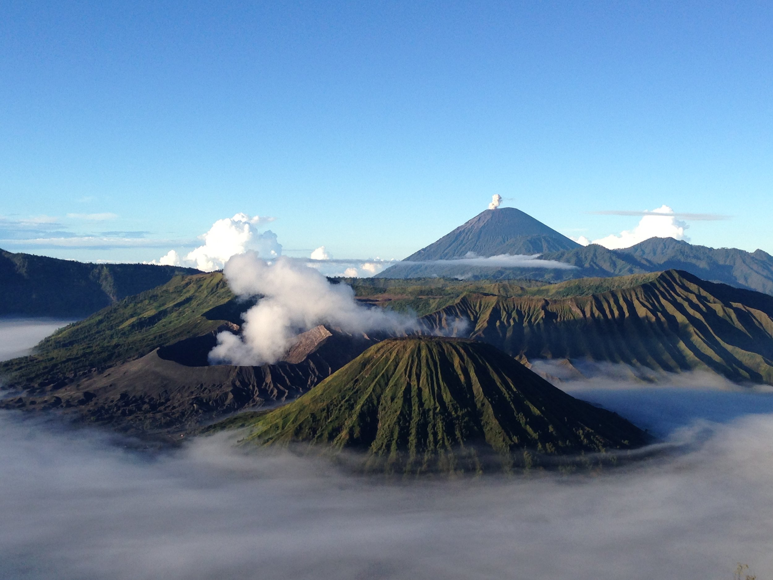 Fruits are grown around active volcanic mountains on Java island