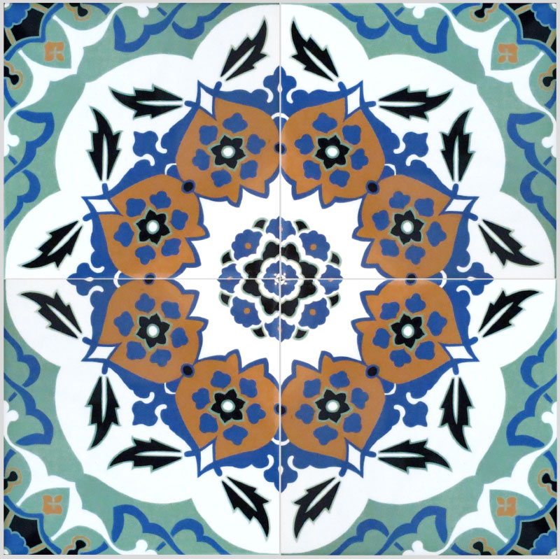 I made these tiles so that four would make up a single design which would then tessellate to create a wonderfully colourful panel of tiles as in the image below.