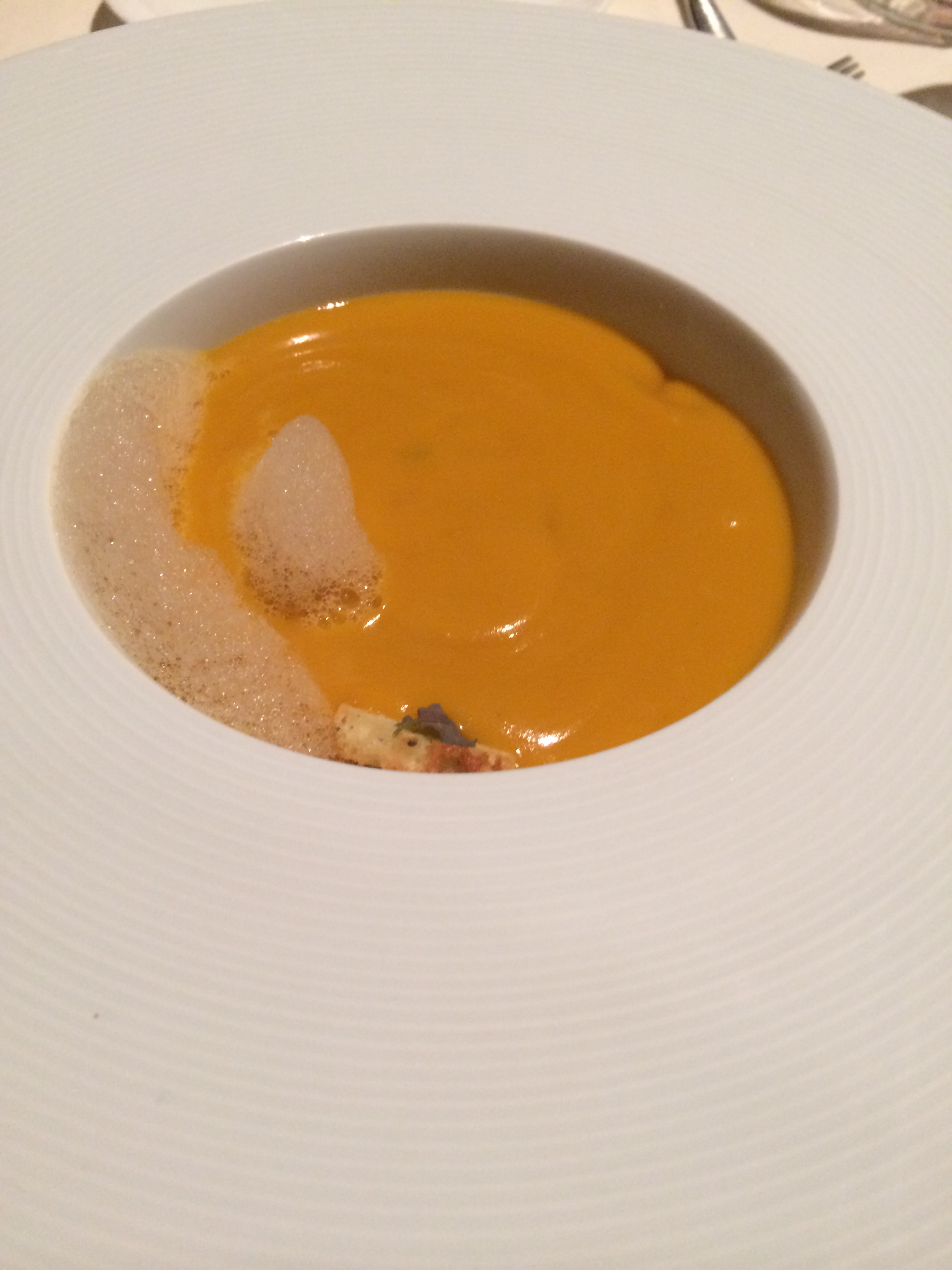 Lobster Kabocha squash soup - poured into the bowl tableside, a beautiful hearty soup that Owen LOVED.