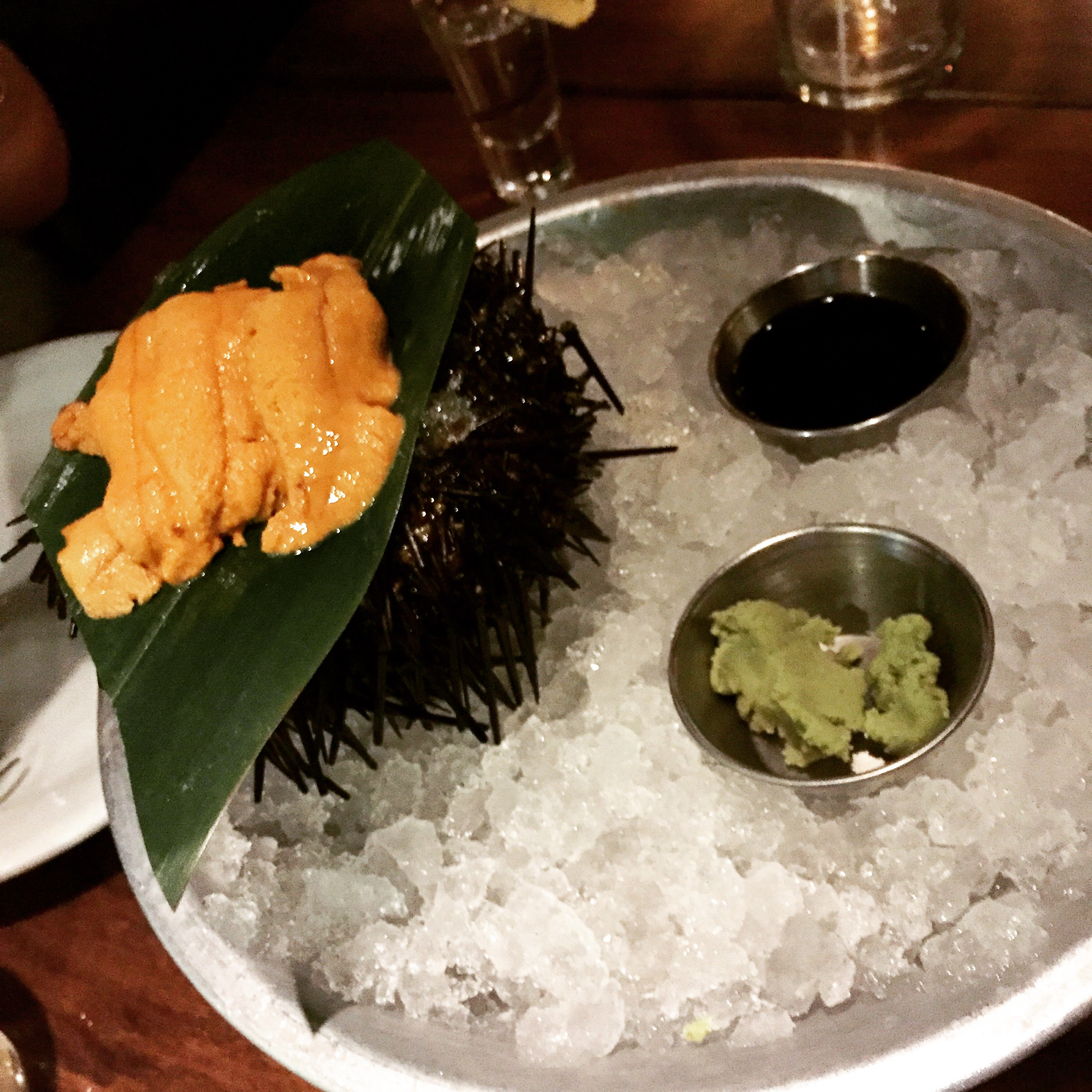 Santa Barbara UNI!  Can't get any fresher!  Presented with soy sauce and wasabi