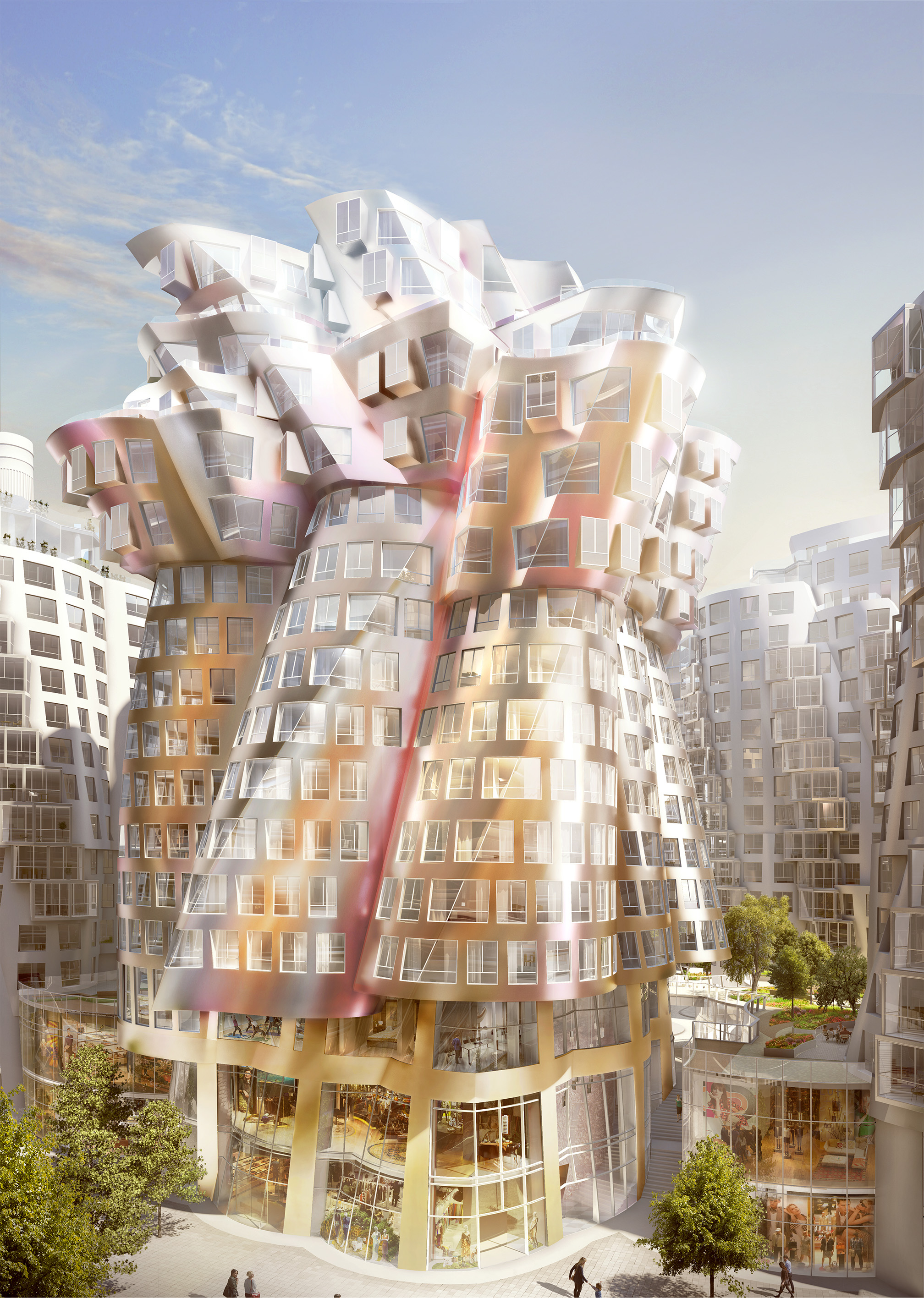 The Flower, designed by Gehry Partners, sits at the centre on the Electric Boulevard.