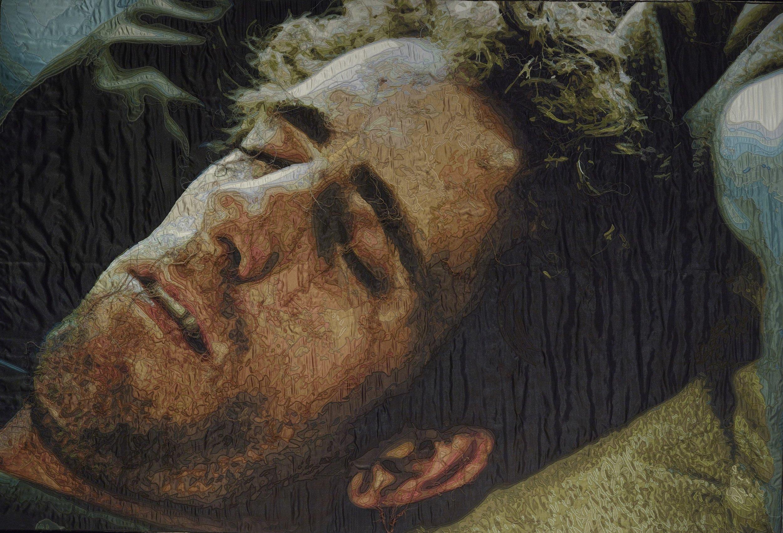 Ramazan Bayrakoğlu, Uyuyan Adam 2010, tuval üzeri dikiş 143x210cm.jpg