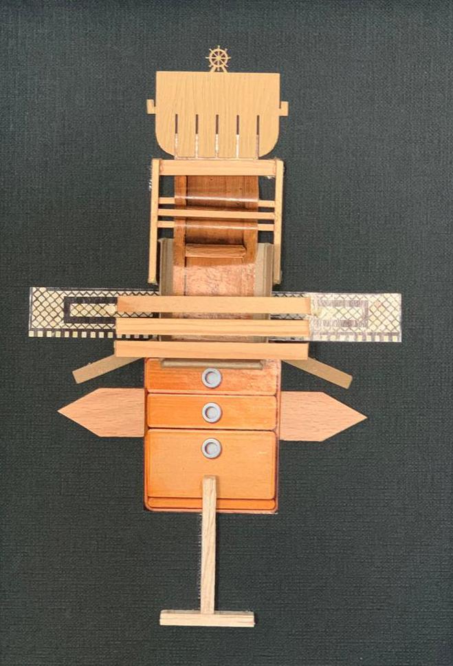 "Collage-Object ""A bird"". 22,5x28,5 cm, original old paper, card board, wood and founded elements and sundries Mariusz Malecki_studio ziben Berlin 2019_studio-ziben.de.jpg"