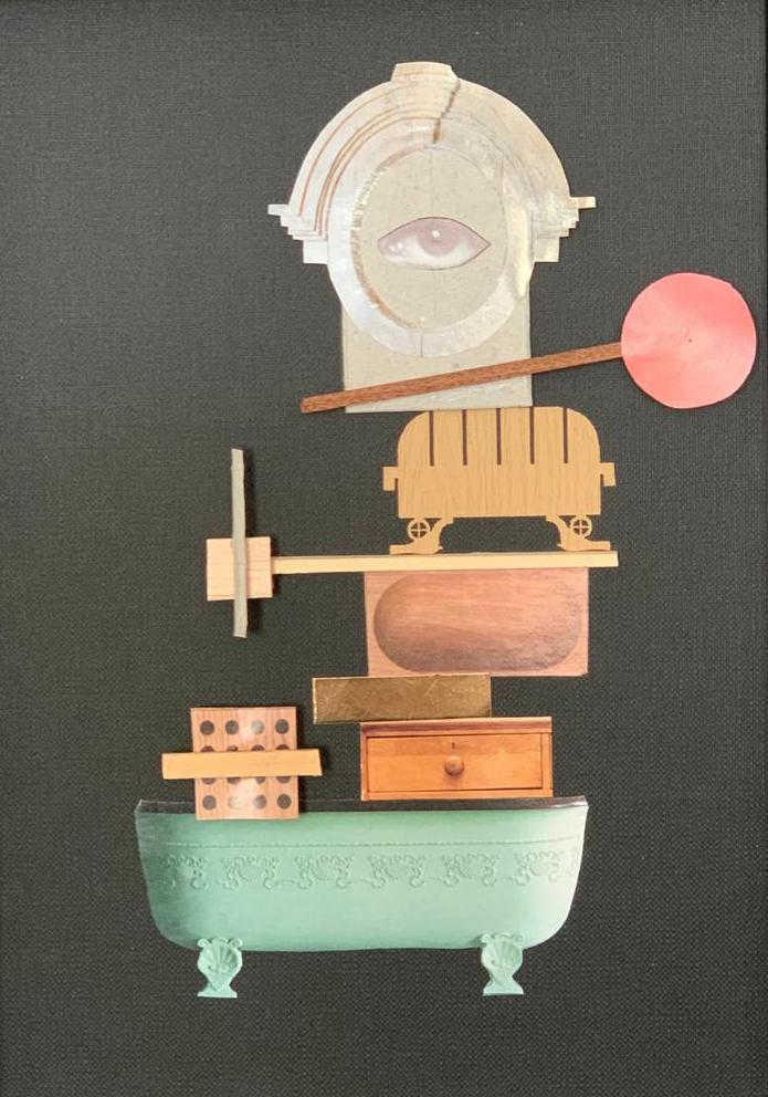 "Collage-Object ""Watch and go"". 22,5x28,5 cm, original old paper, card board, wood and founded elements and sundries Mariusz Malecki_studio ziben Berlin 2019_studio-ziben.de.jpg"