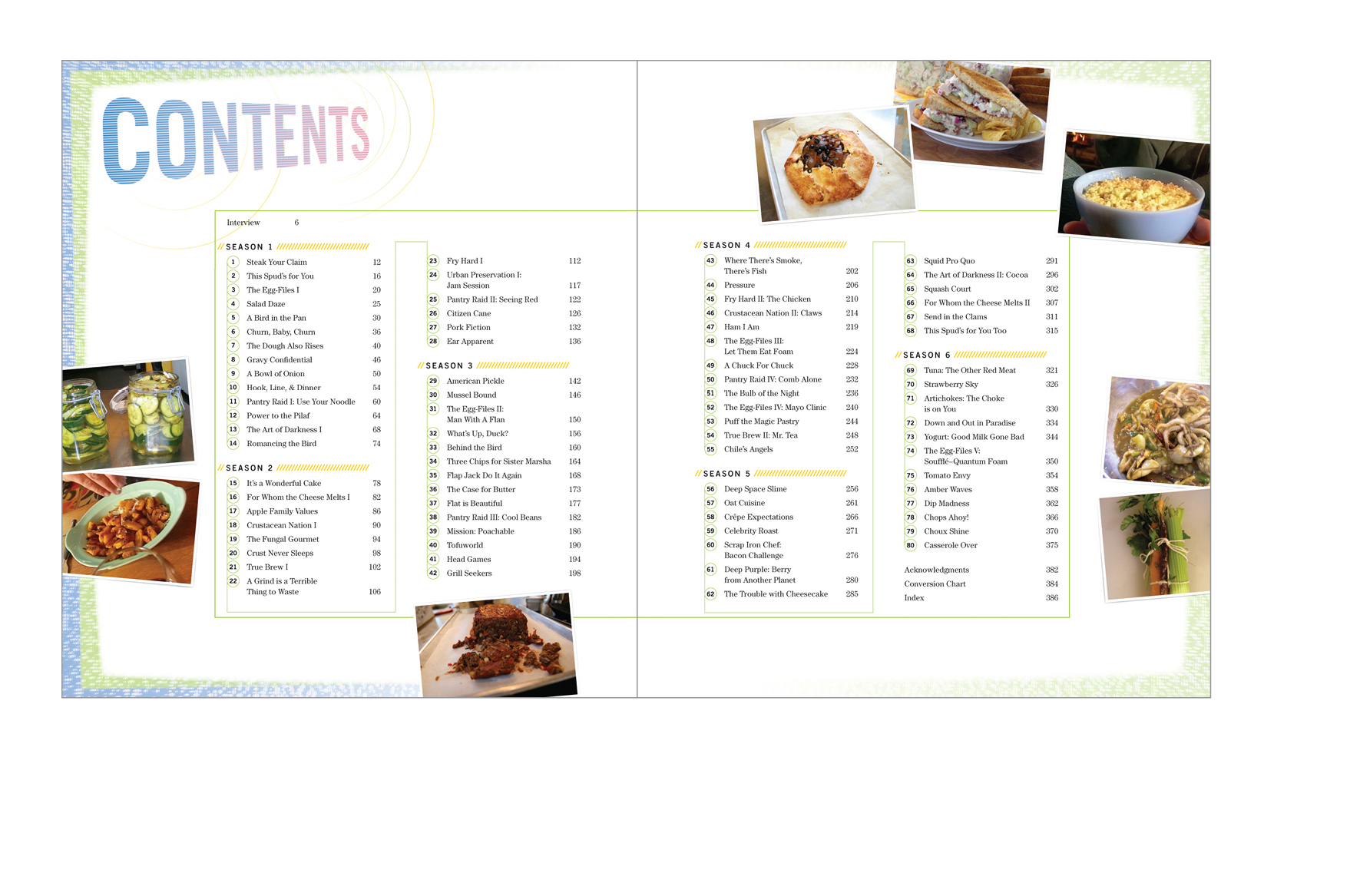 Contents -  Every episode is covered separately, illustrated with on-set reference shots of the dishes