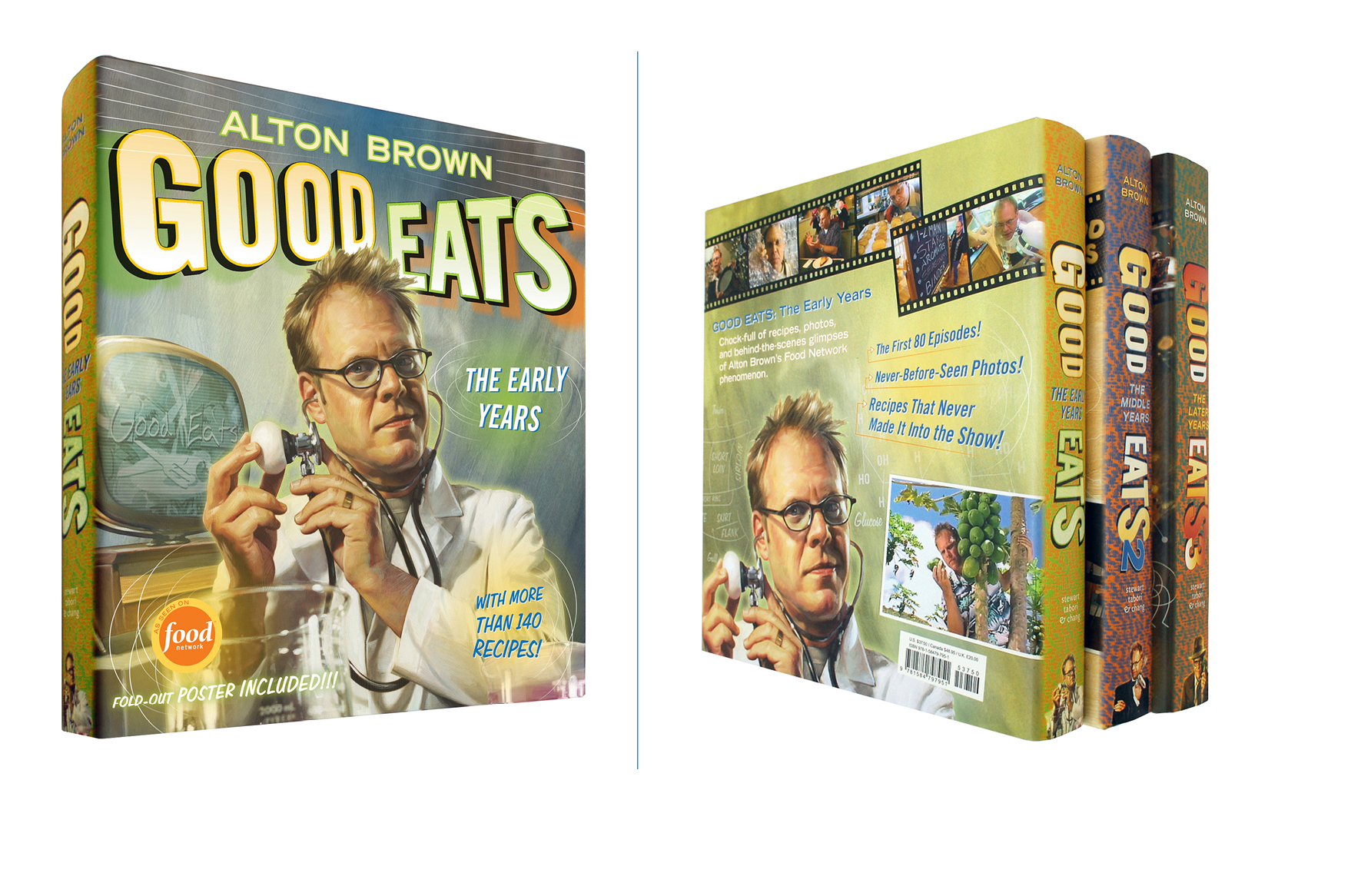 Good Eats, first volume in a three book series -  9 X 10 in., 396 pg., hardcover with poster jacket. Design; Galen Smith, Danielle Young // Illustration; Mike Koelsch, Eric Cole // Publisher; Stewart, Tabori & Chang
