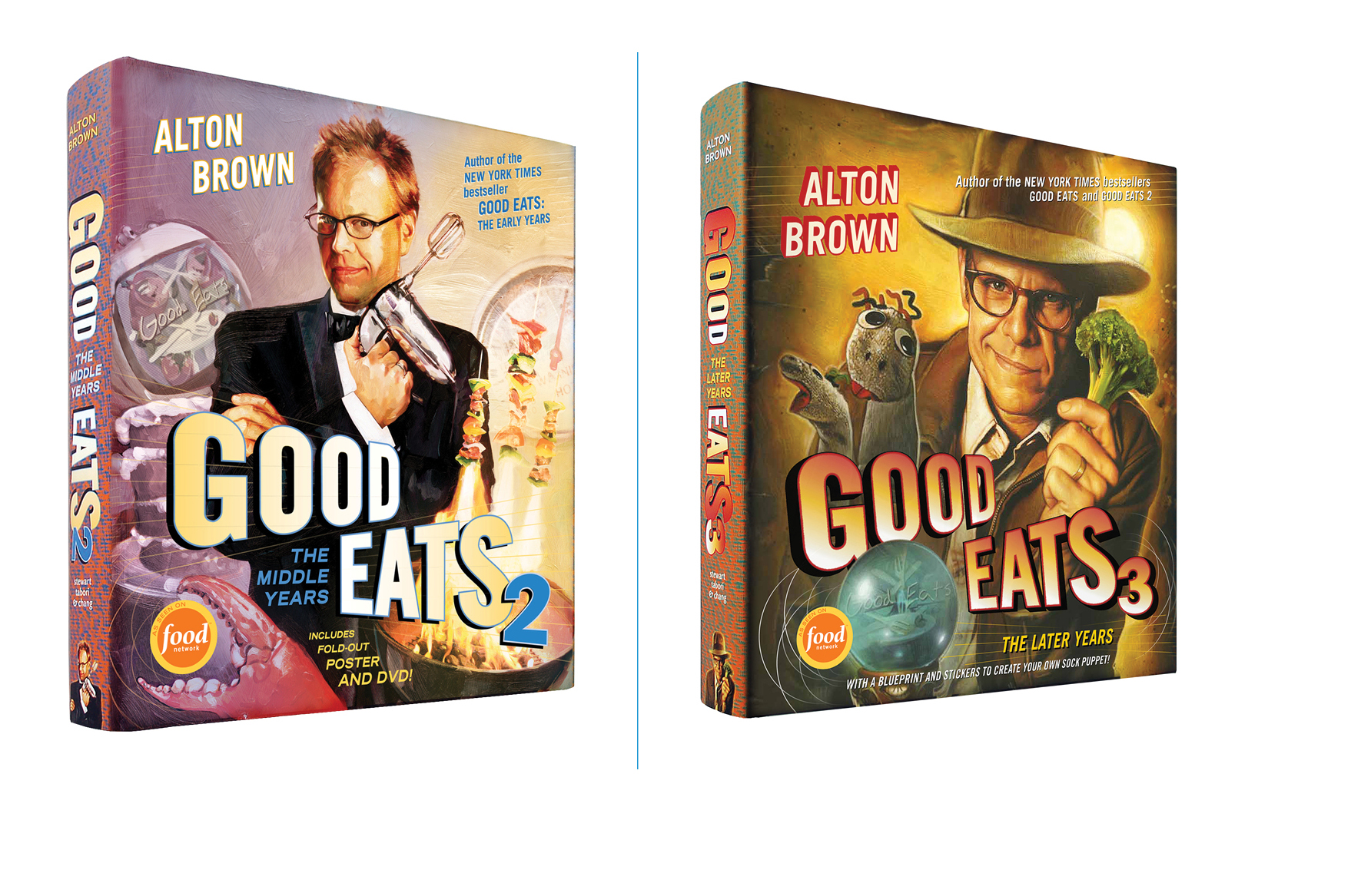 Good Eats 2, Good Eats 3 -  Design; Galen Smith, Danielle Young // Illustration; Jim Salvati, Mike Koelsch, Eric Cole // Publisher; Stewart, Tabori & Chang