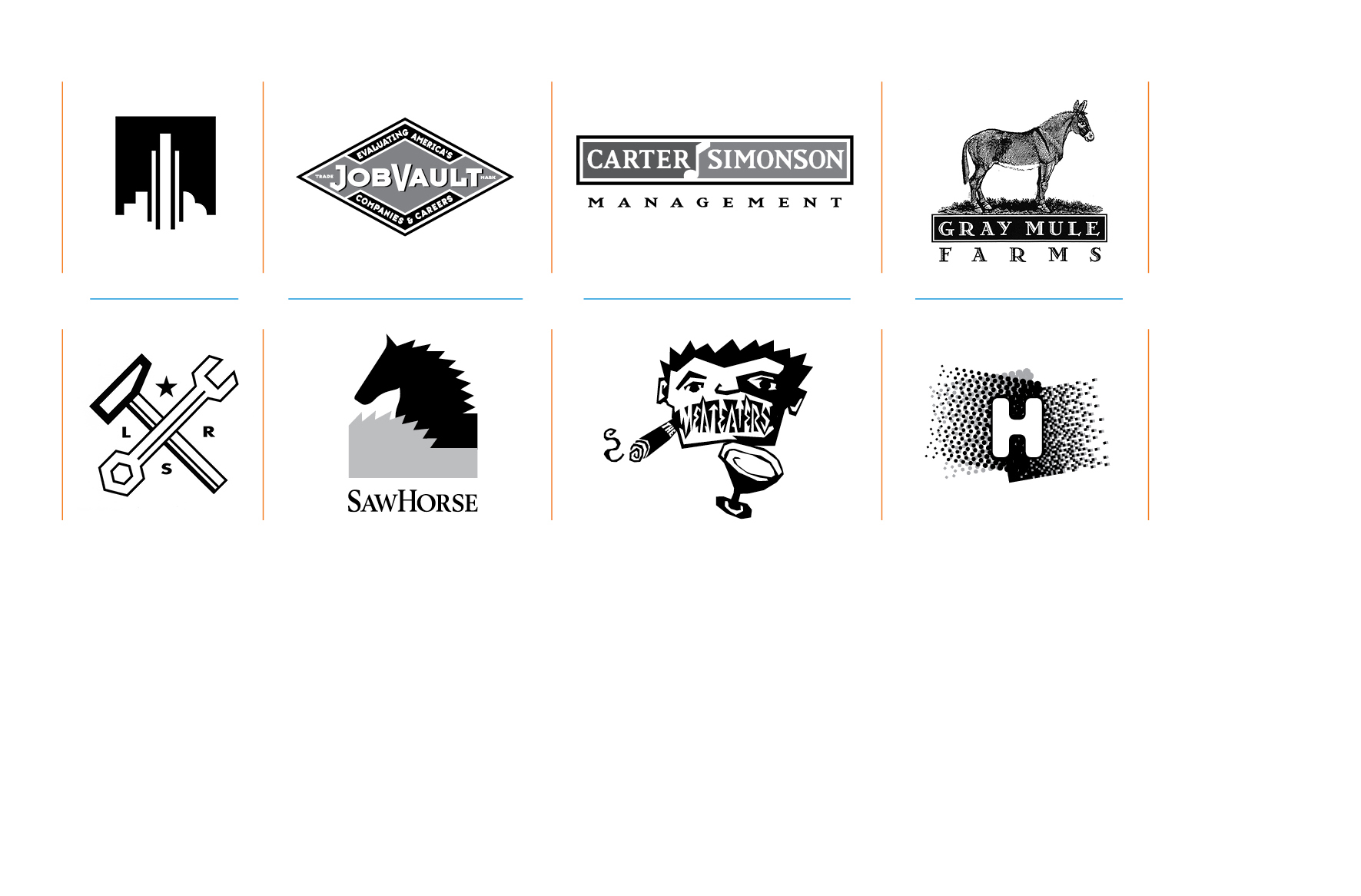 Logos and branding -   Ansley Above the Park, Jobvault, Carter Simonson, Gray Mule Farms, LRS, Sawhorse, The Meateaters, Hardscrabble Projects