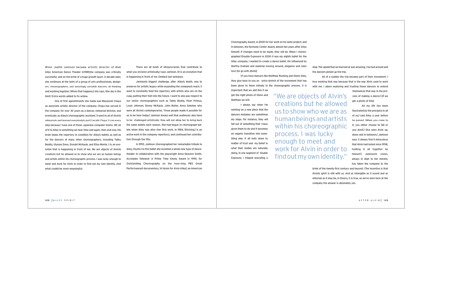 Essay spread -  A short essay introduces each chapter, large pull quotes and wrapping text provide a feeling of movement
