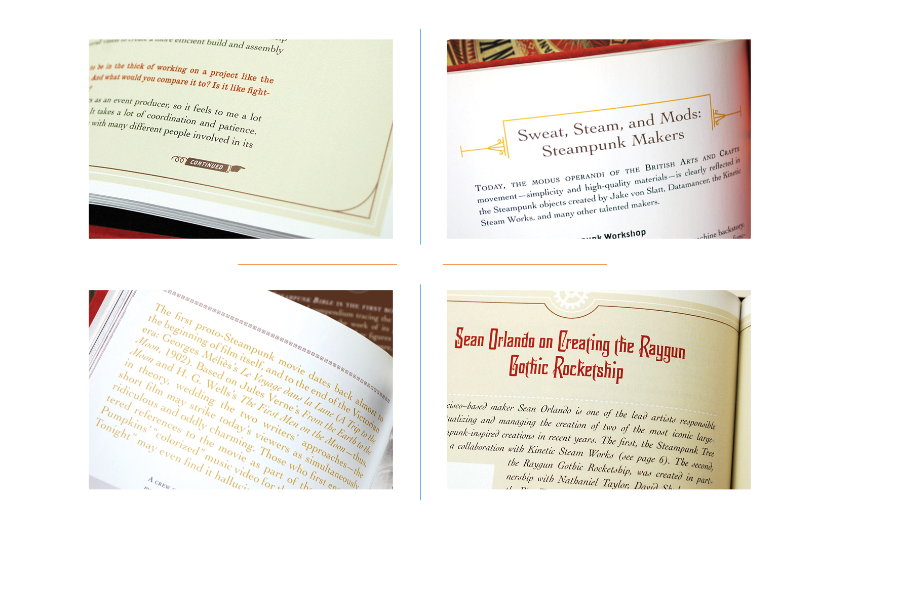 Interior details -  Continued indicator // Heading // Chapter intro // Sidebar heading