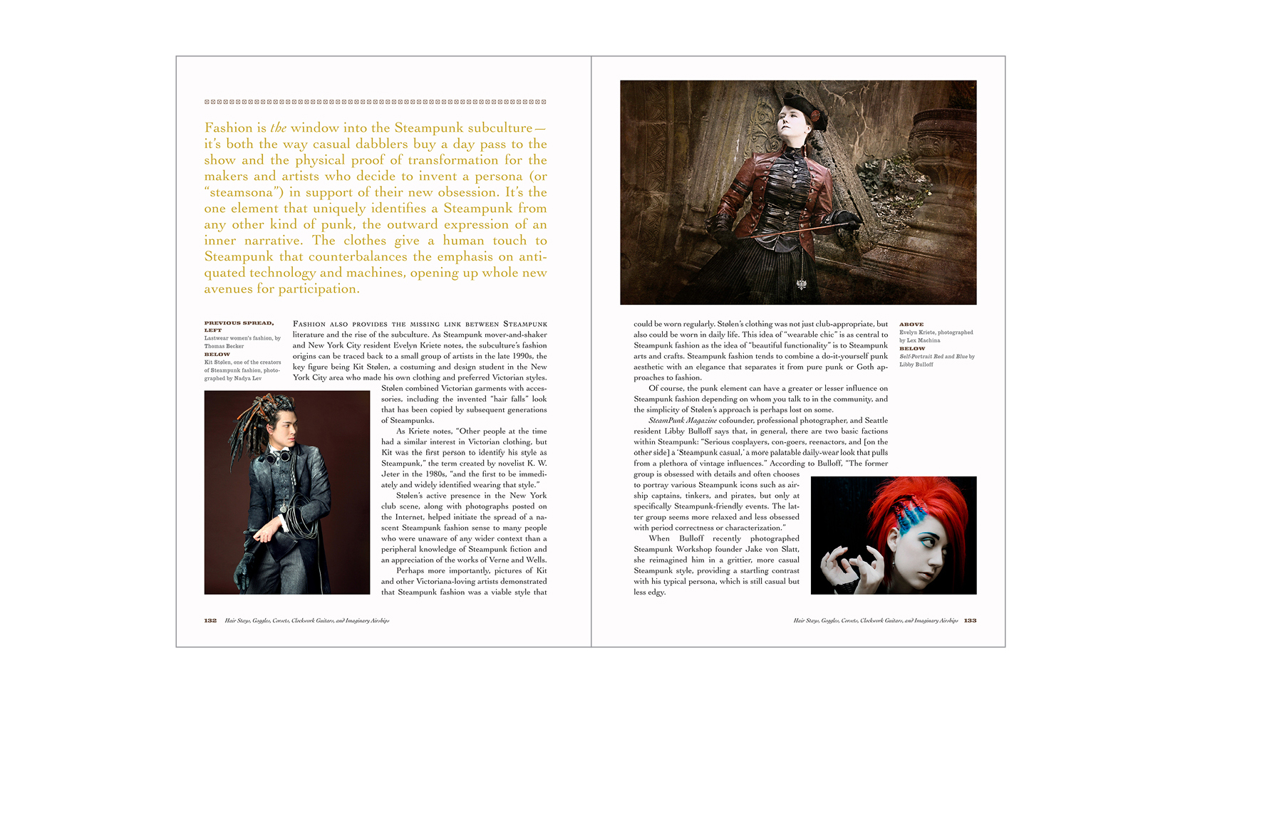 Typical spread -  Chapter introduction with large lead-in text, variety of photo sizes