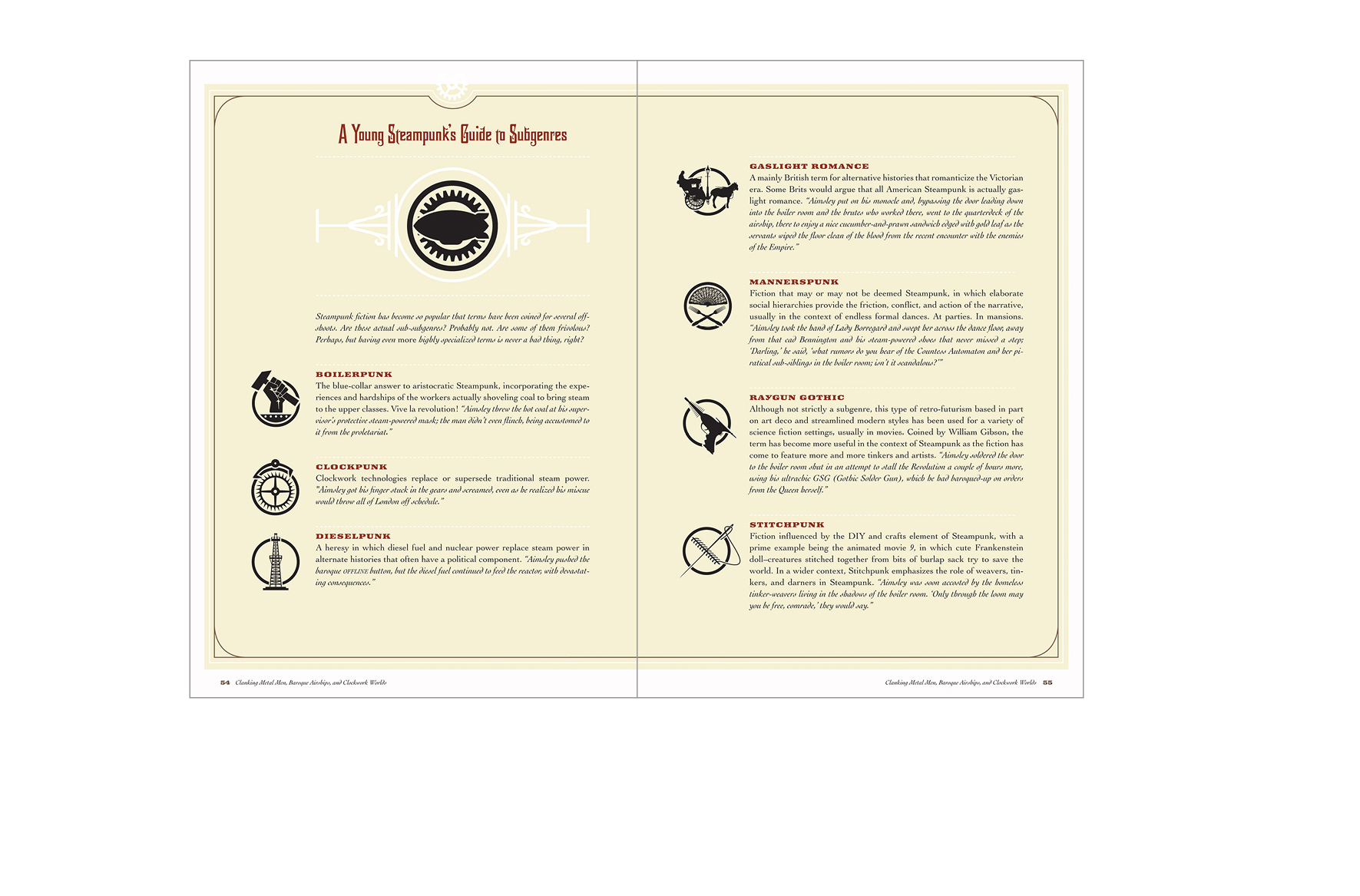 Two page sidebar -  Glossary of terms with identifier icons