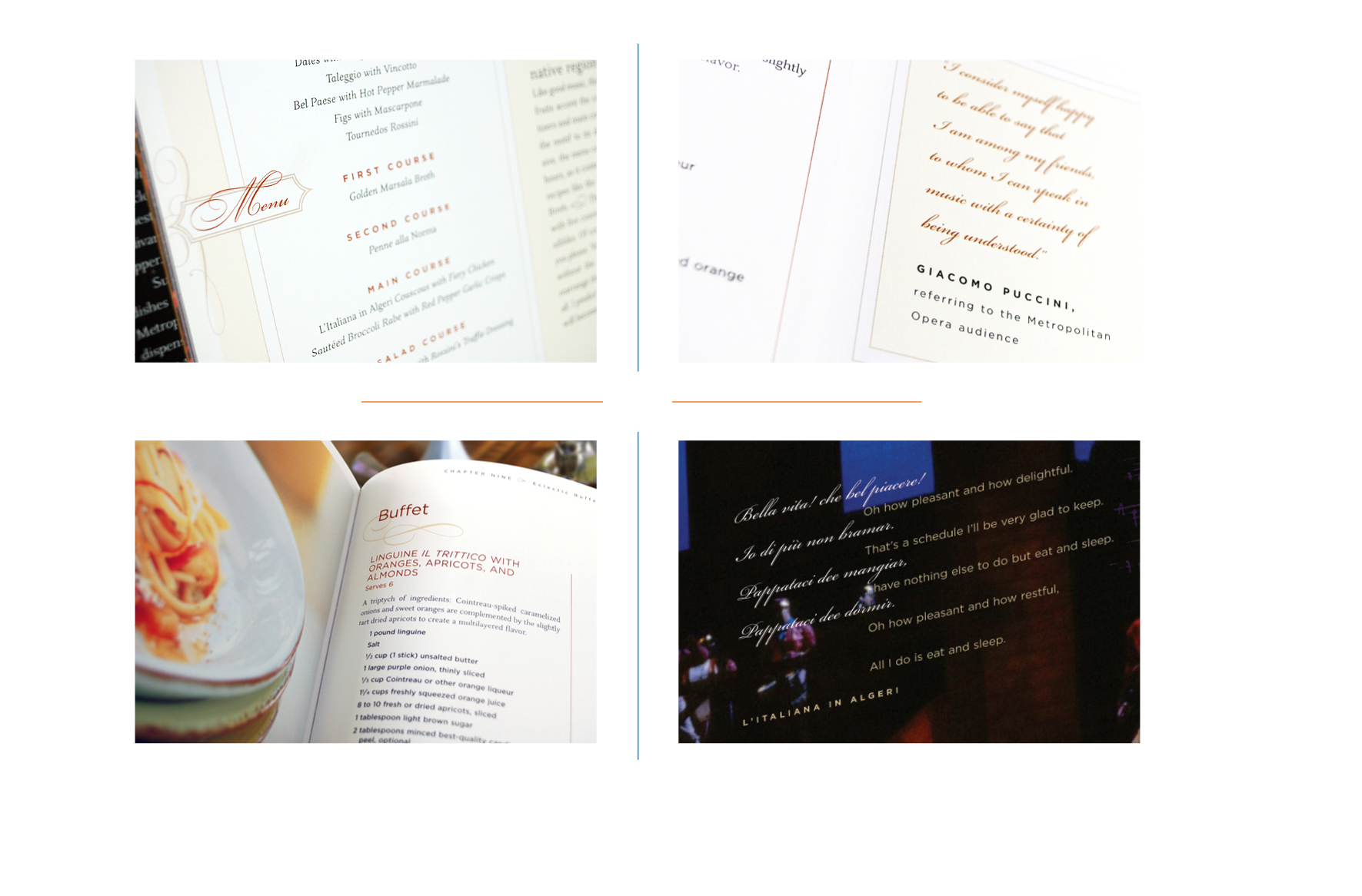 Interior details -  Chapter opener menu // Composer quote // Recipe // Opera lyric with translation