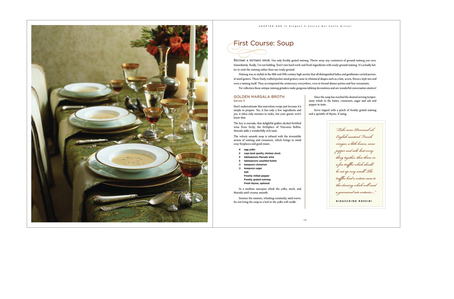 Recipe spread -  Formal photo, recipe and composer quote