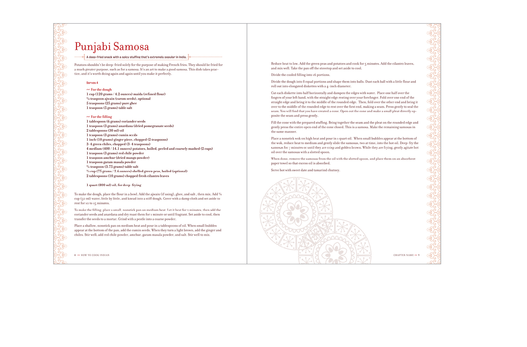 Typical spread -  Two-page recipe with tinted border and ornaments