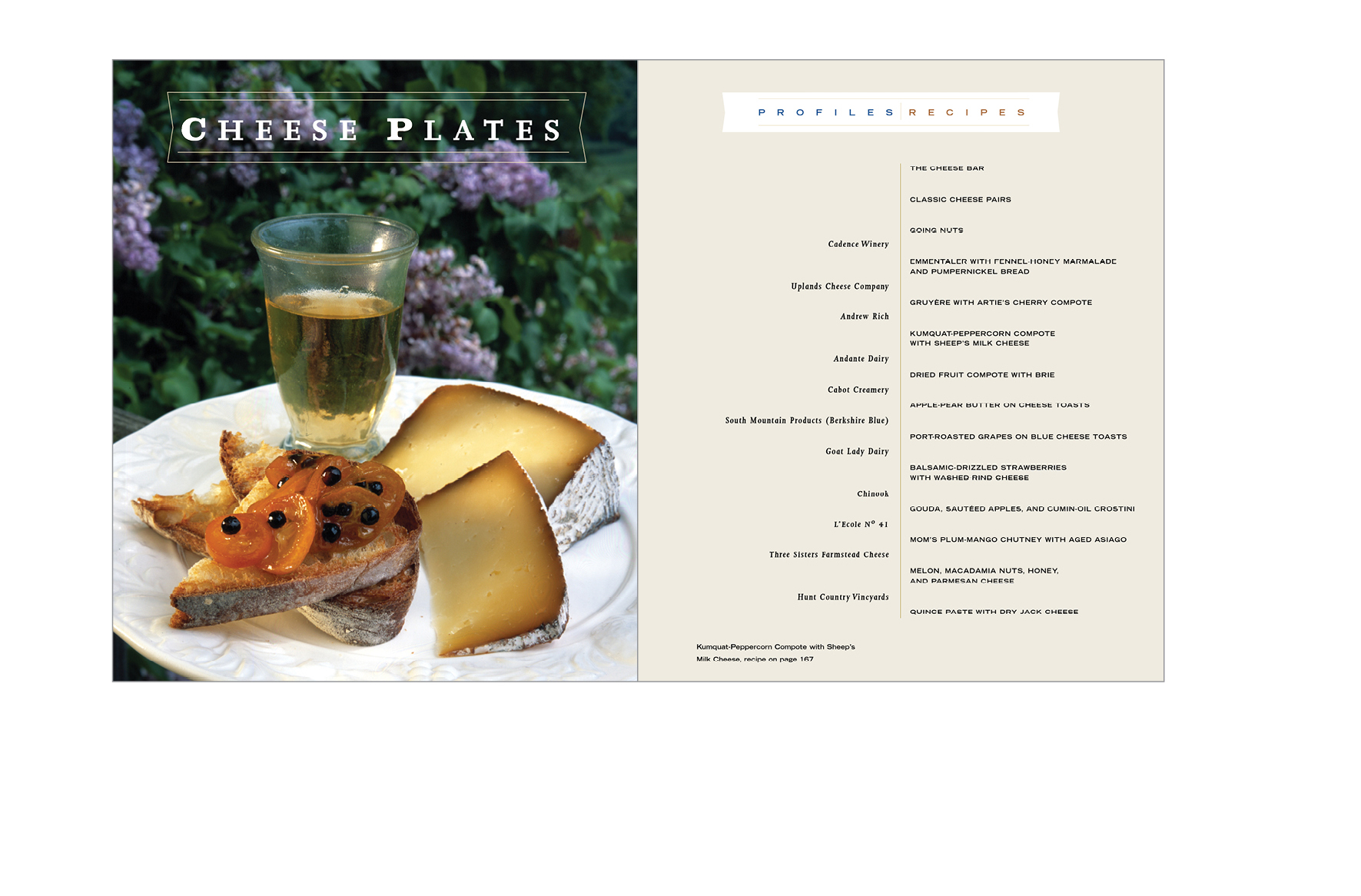 Chapter opener -  Opener with list of profiled cheese or wine makers and list of recipes