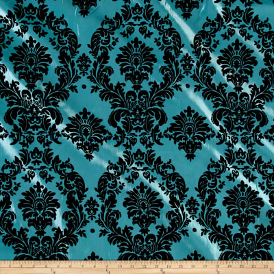 Aqua Flocked Damask Taffeta