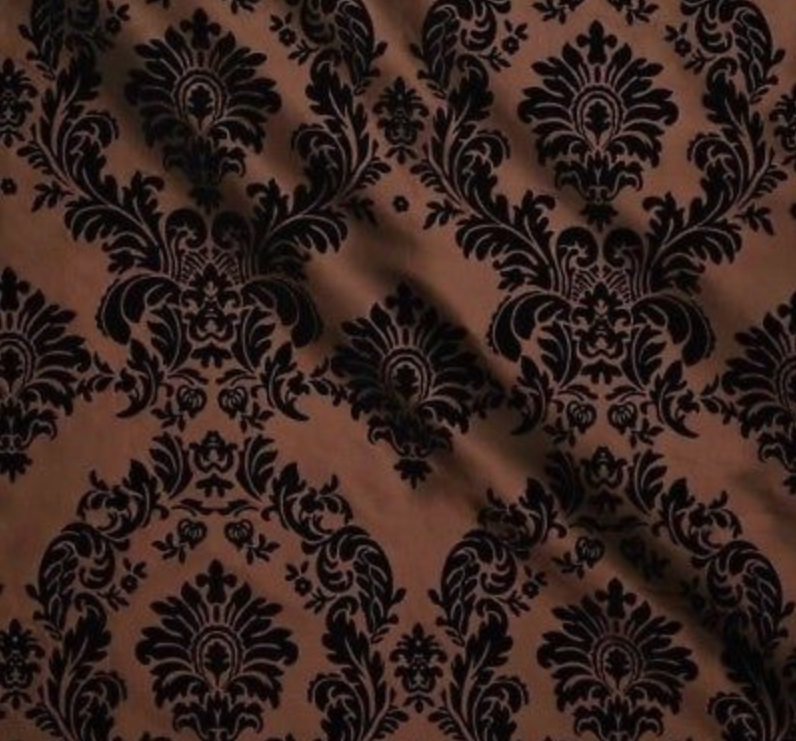 Brown Flocked Damask Taffeta