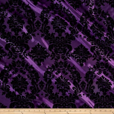 Plum Flocked Damask Taffeta