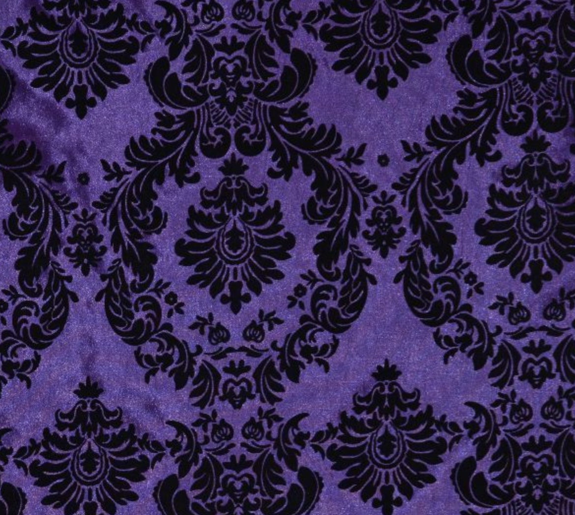 Purple Flocked Damask Taffeta