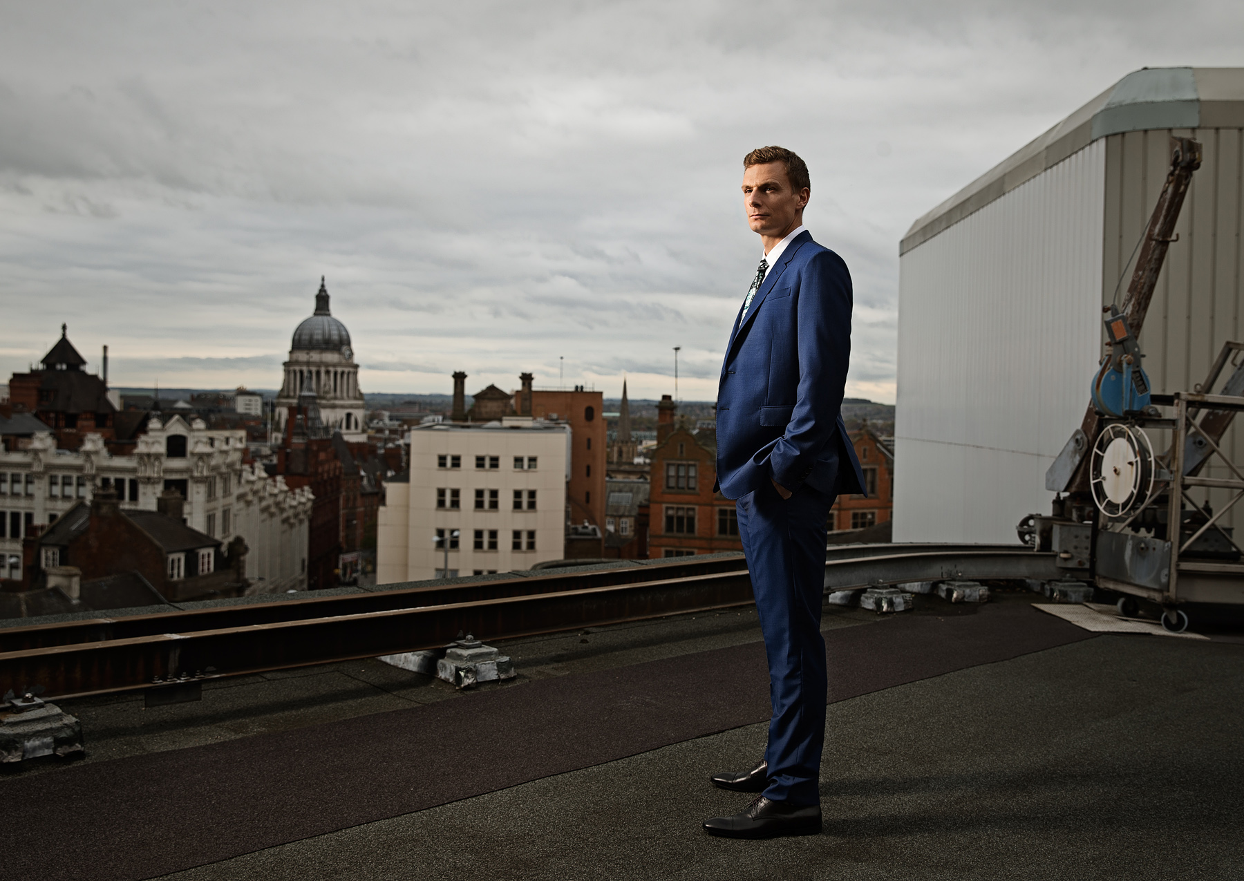 Nottingham city skyline photography for Paul Smith fashion by Karl Bratby