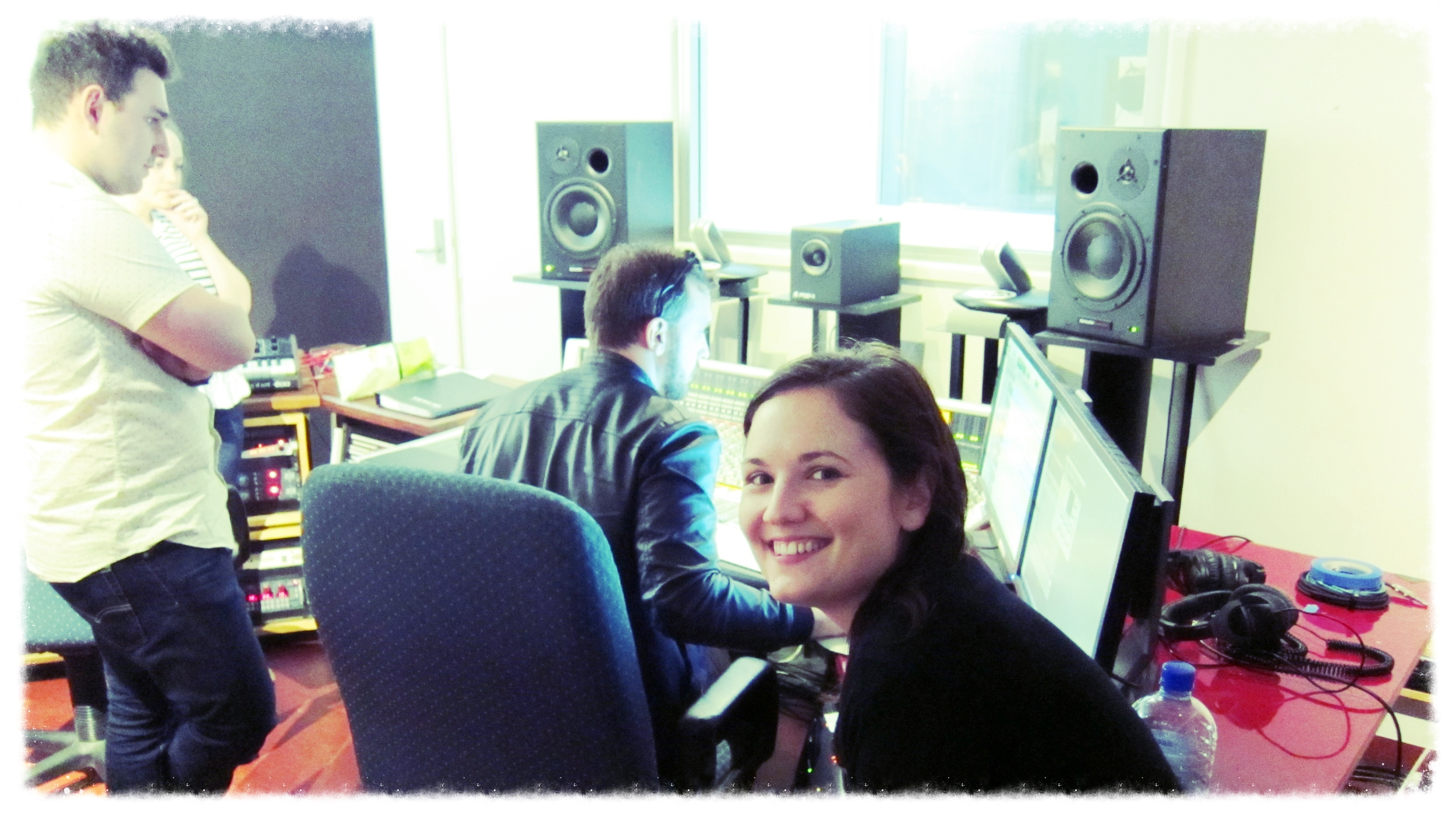 Happily listening back! (While the others are stressing over some technical issues).