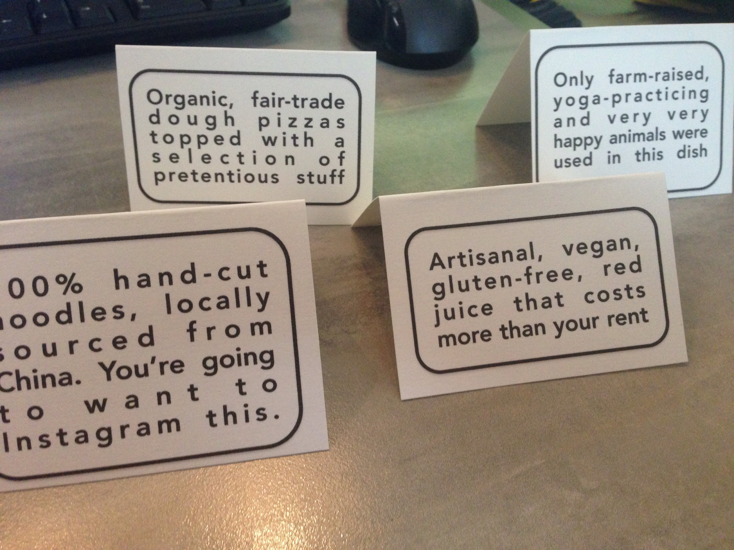 Even the food cards got funky.