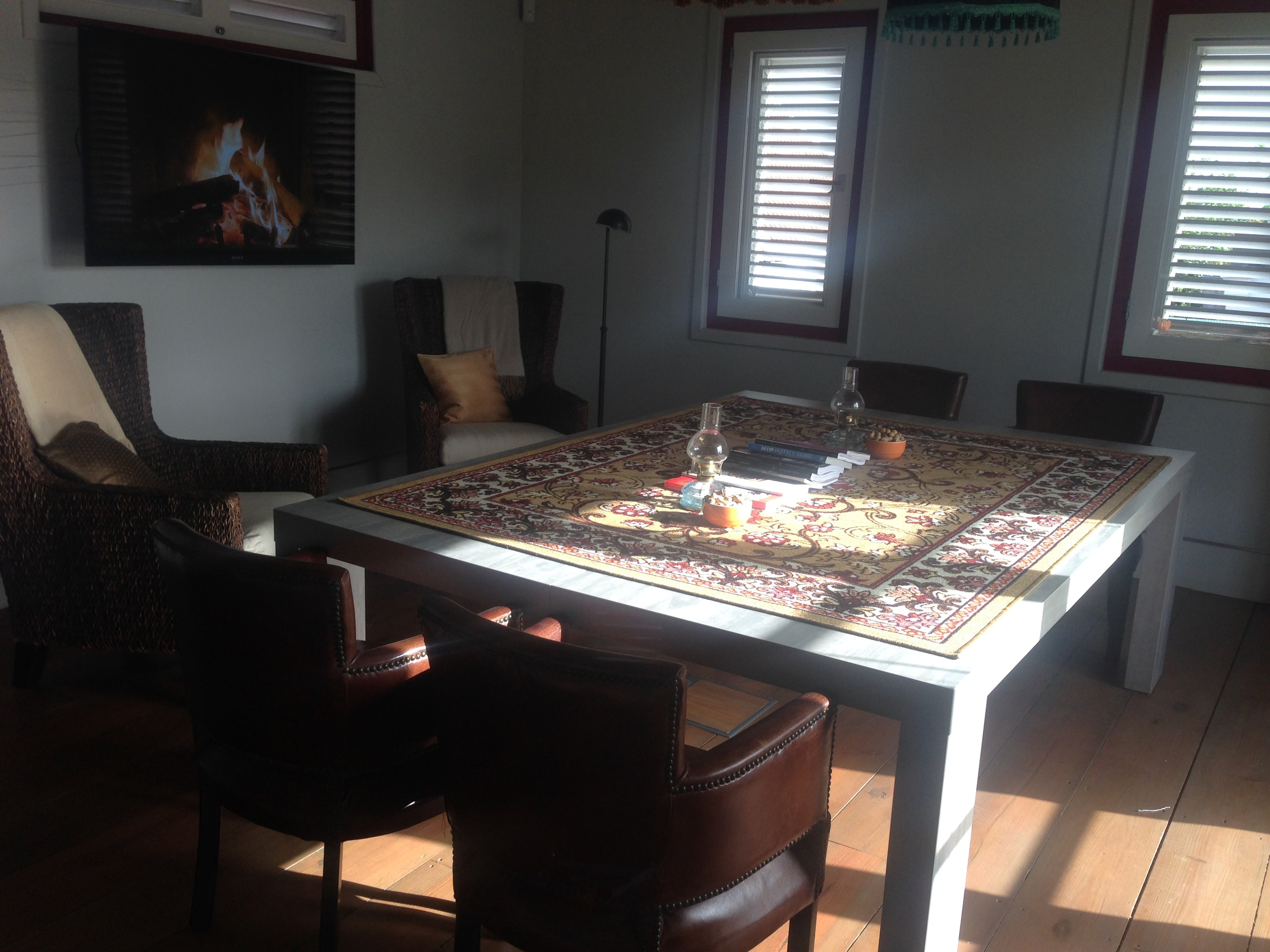 The reading table with fireplace