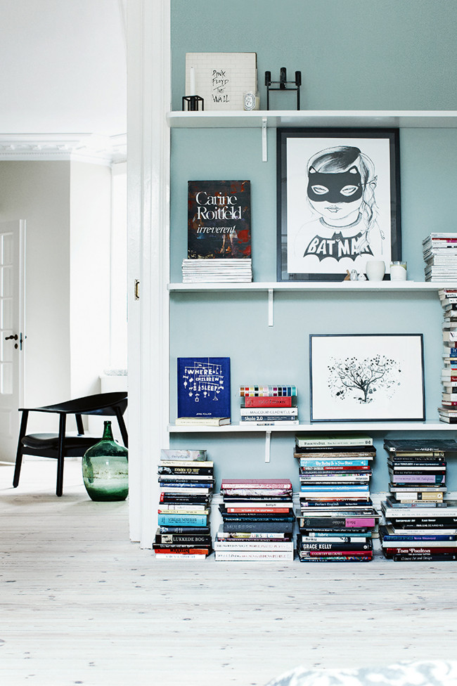 Oh those stacked books - just lovely  Via  Dustjacket Attic