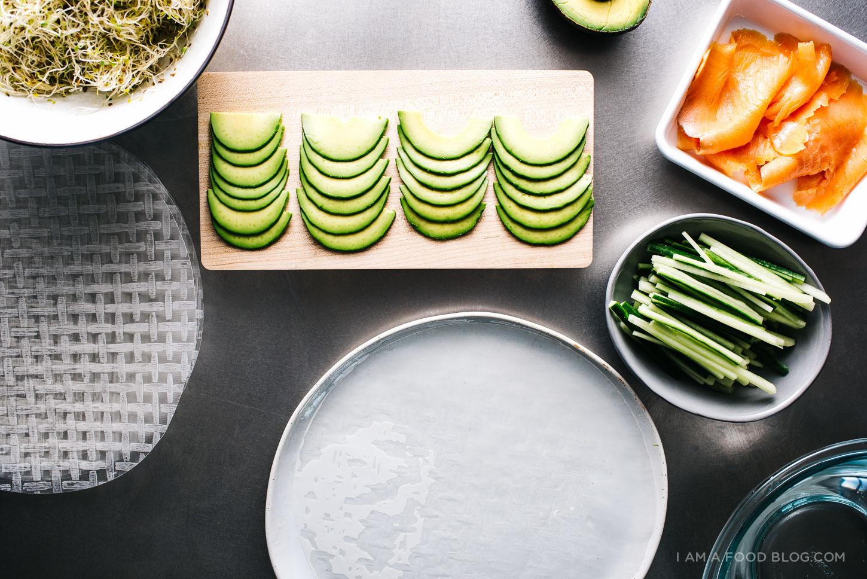 "Smoked Salmon and Avocado rolls. The recipe via  ""I am a food blog""."