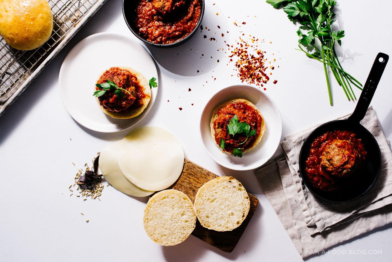 "Meat Ball Parmesan Sliders. The recipe via  ""I am a food blog""."