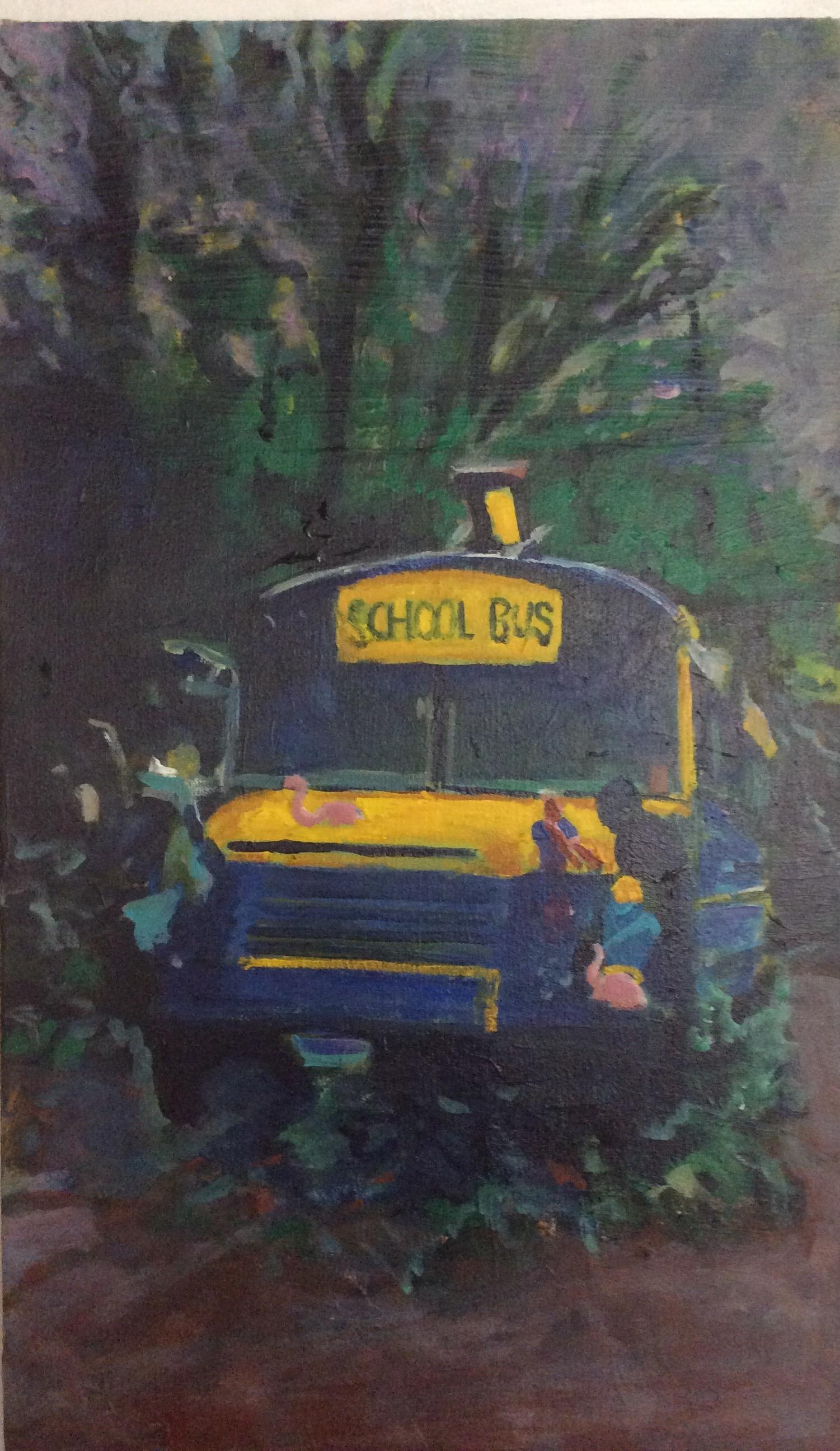 Hannah's school bus she rents through Airbnb
