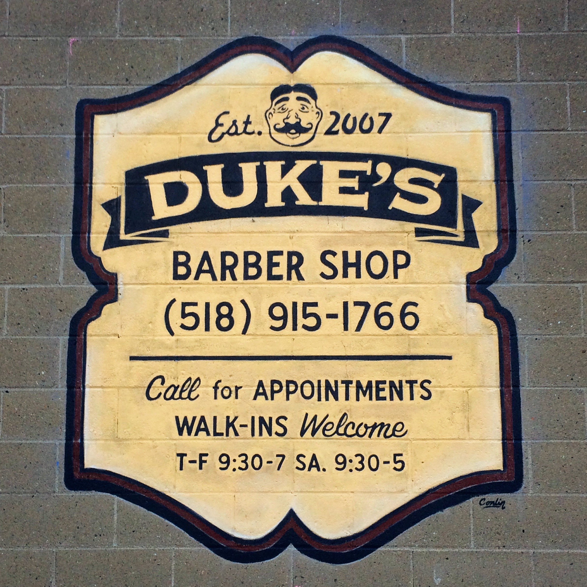 Hand Painted Outdoor advertisement  Dukes Barber shop