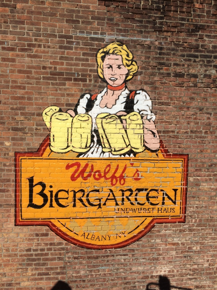 Hand Painted outdoor advertisement Wolffs Biergarten Albany New York