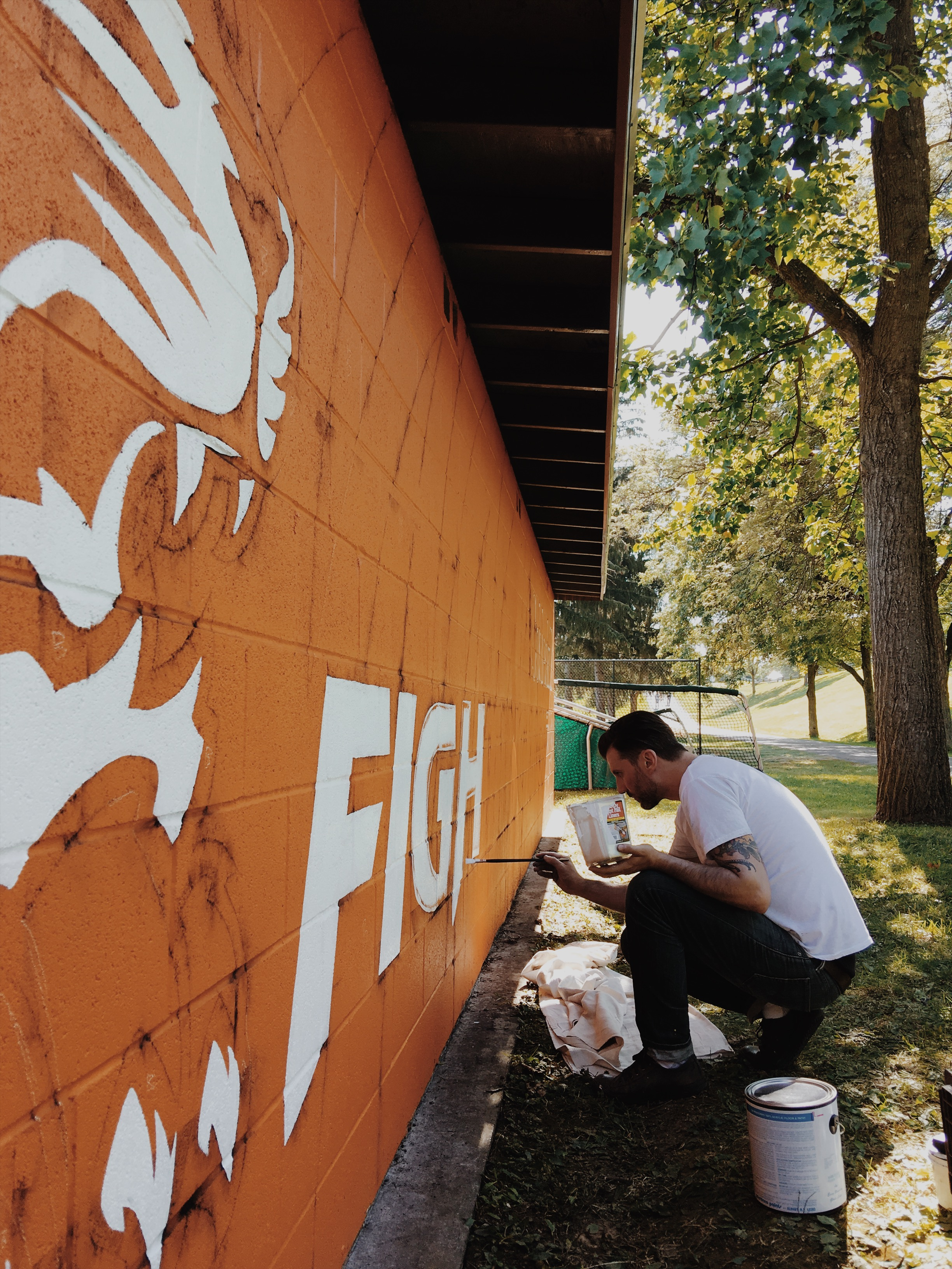 painting the SUNY dugout