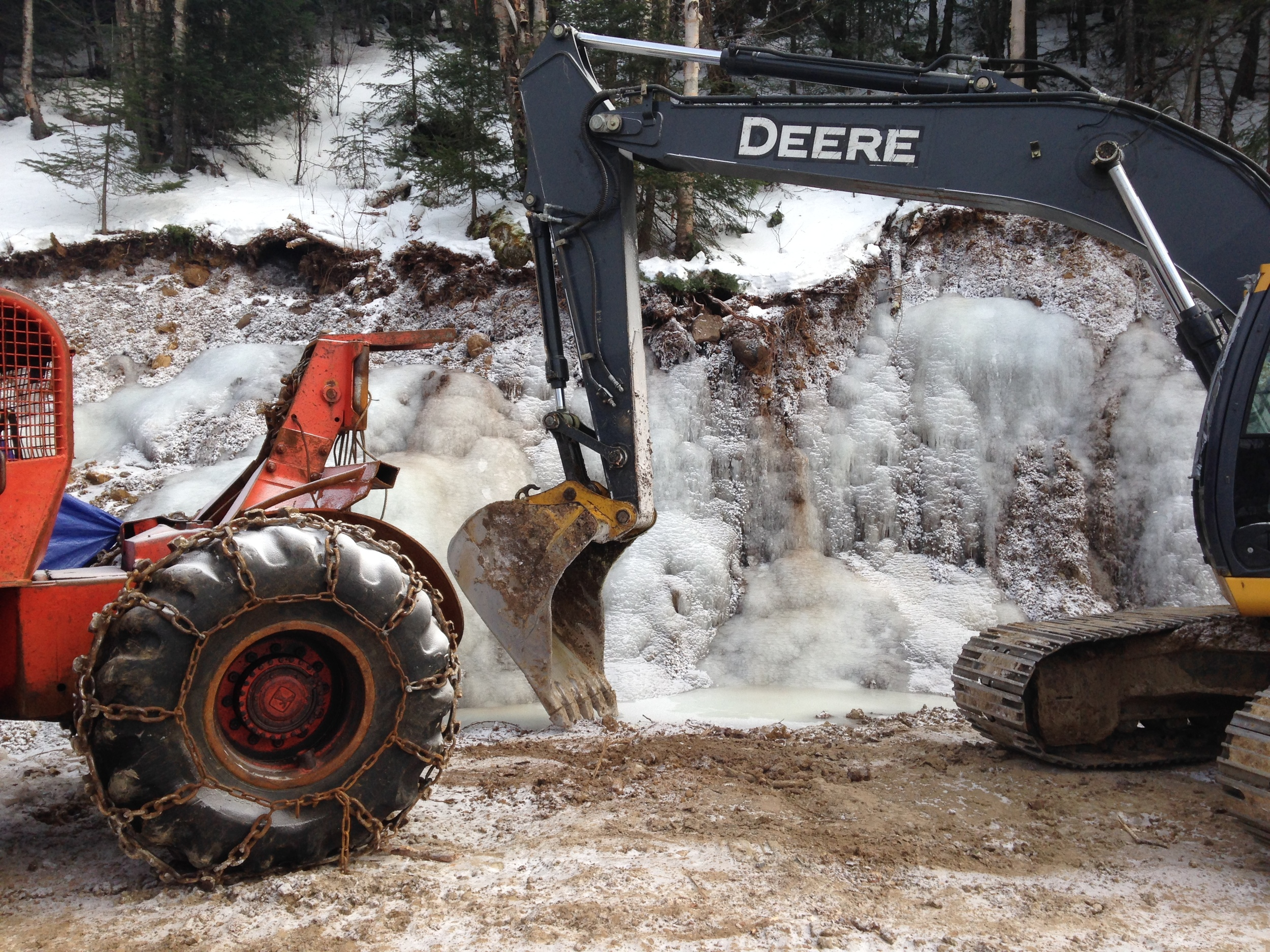 Ground has been broken on ourChalet project in St. Donat, QC. It was -30 on the day of this site visit!
