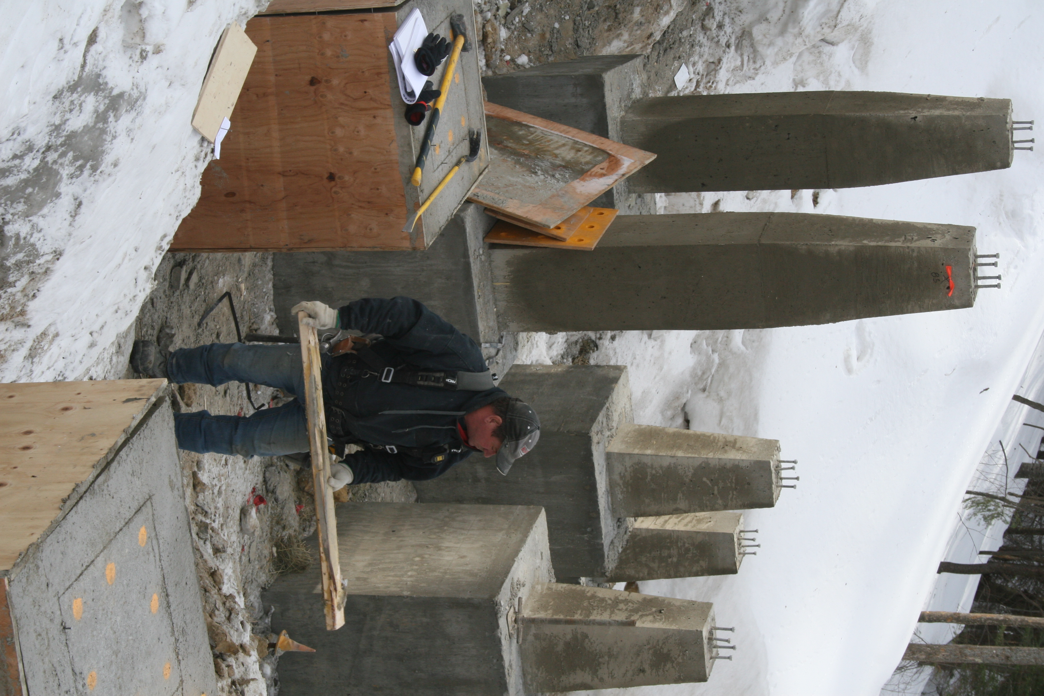 Formwork coming off.