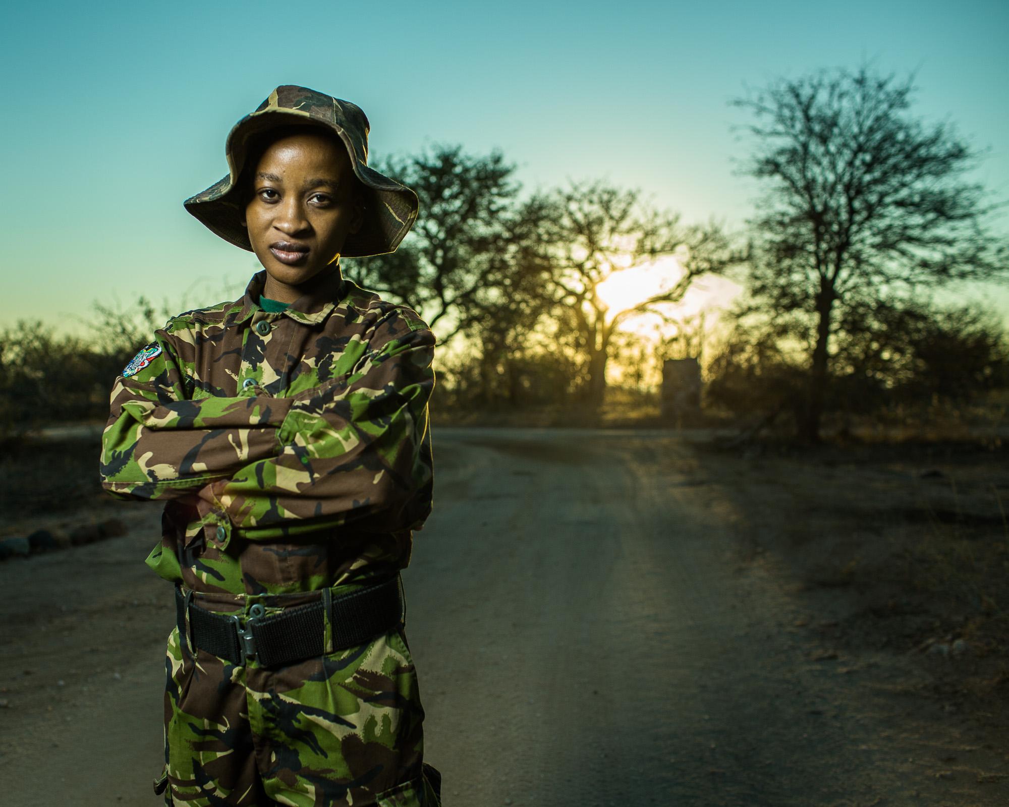 Felicia Mogakane,a member of the Black Mamba anti-poaching unit in Balule Game Reserve.