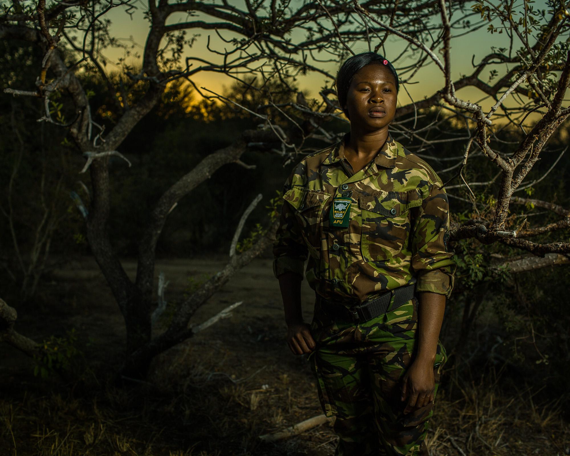 Leitah Mkhabela, a member of the Black Mamba anti-poaching unit in Balule Game Reserve.