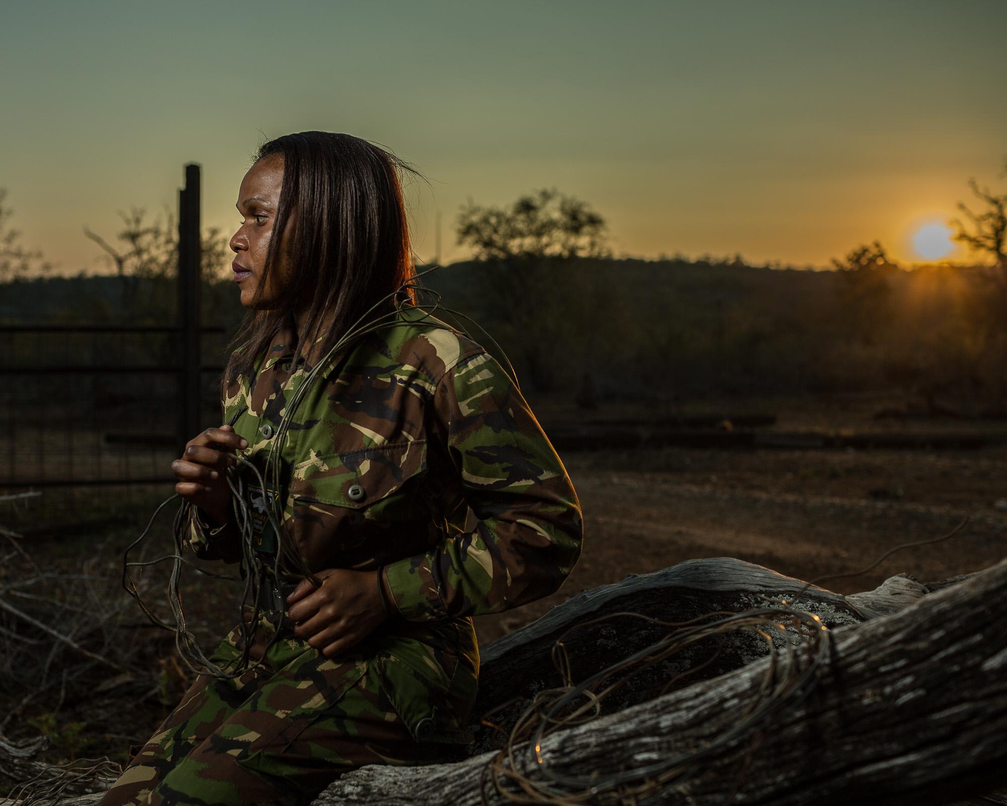 Lukie Mahlake,a member of the Black Mamba anti-poaching unit in Balule Game Reserve.