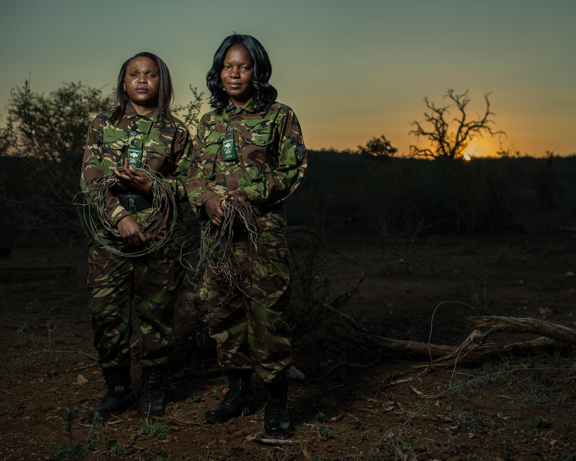 Lukie Mahlake and Winny Nyathi, members of the Black Mamba anti-poaching unit in Balule Game Reserve.