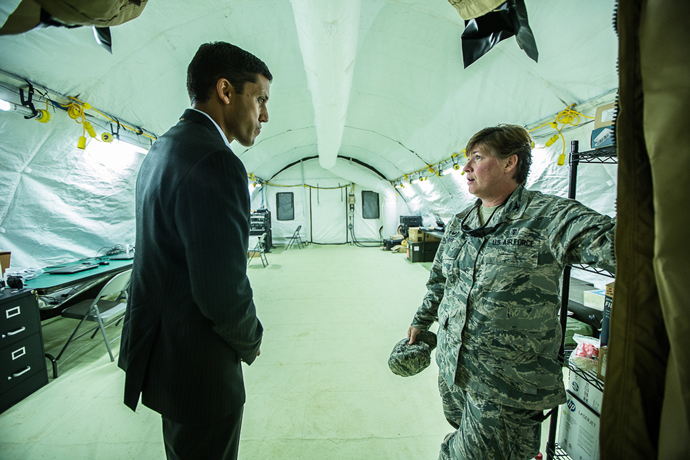 Colonel Joann Frye, nurse, Officer in Charge, U.S. Air Force Air Combat Command 633rd IPTS and USAID Administrator Raj Shah inside the critical care hospital.