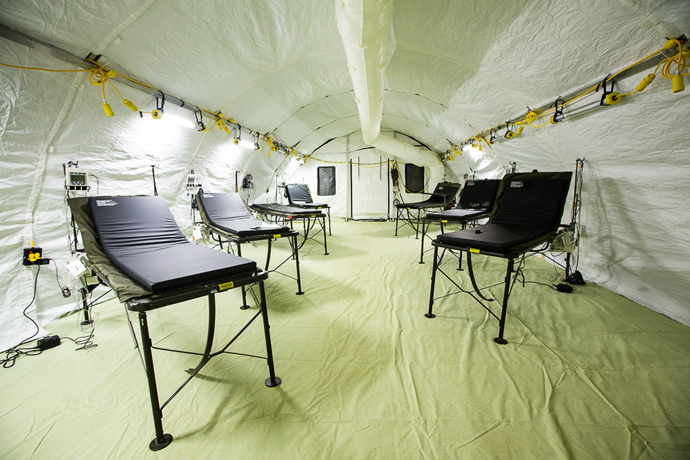 Inside one of the patient wings of a new critical care hospital being built by the U.S. Department of Defense and the U.S. Public Health Service in Harbel, Liberia.