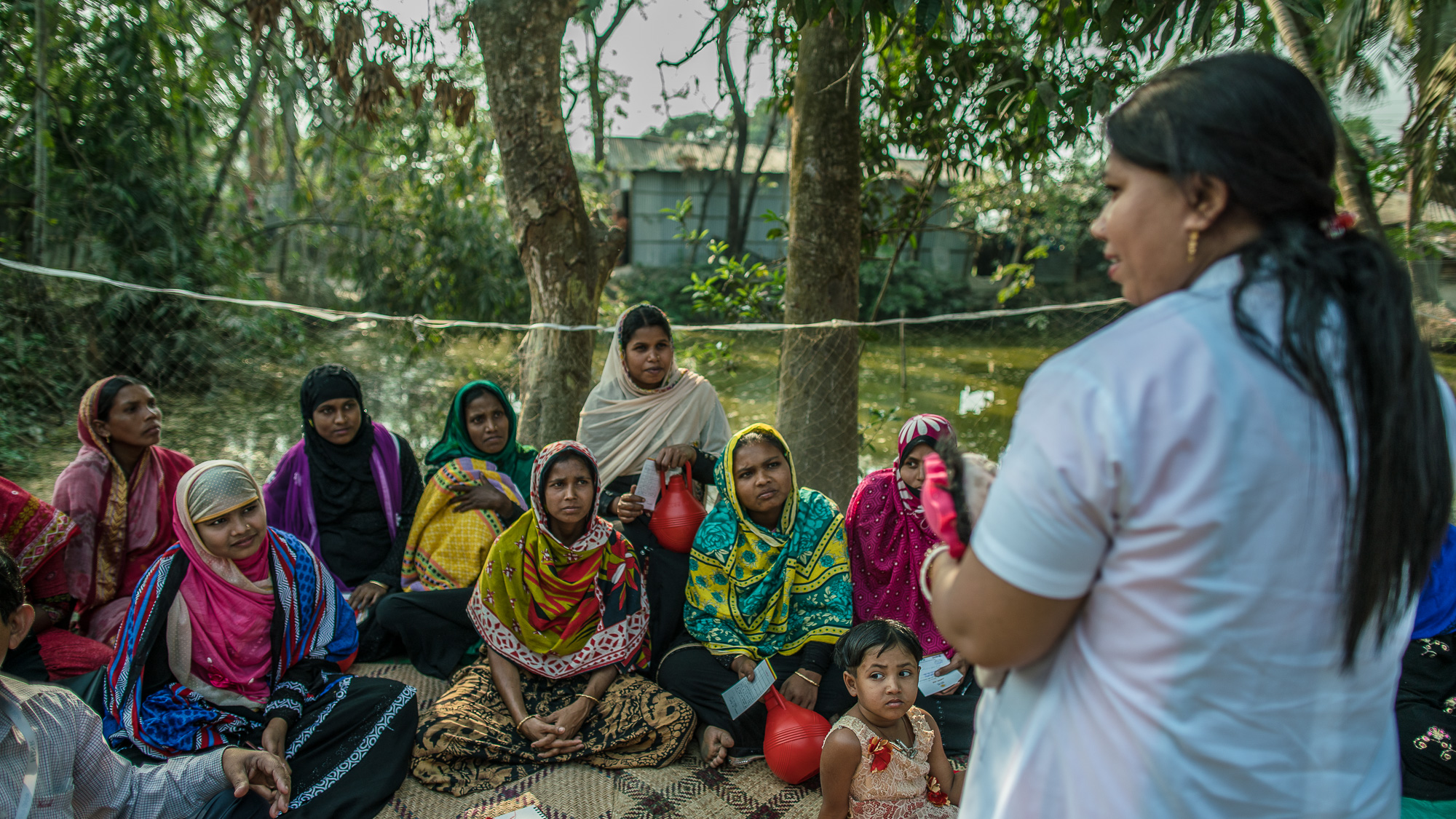 Shanta Das, a paramedic at Smiling Sun Clinic, educates women and mothers about child and maternal health.