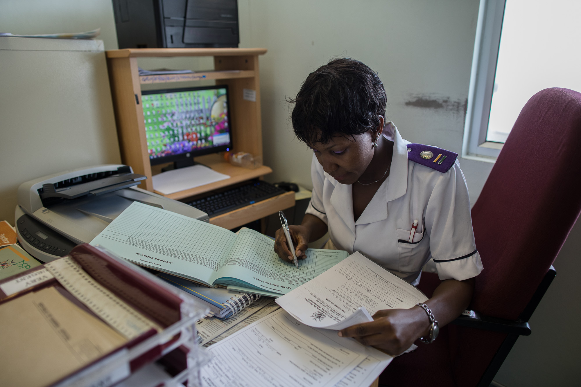 Fiona, a nurse at Shanamutango center - the ART facility aT Onandjokwe Hospital in northern Namibia.