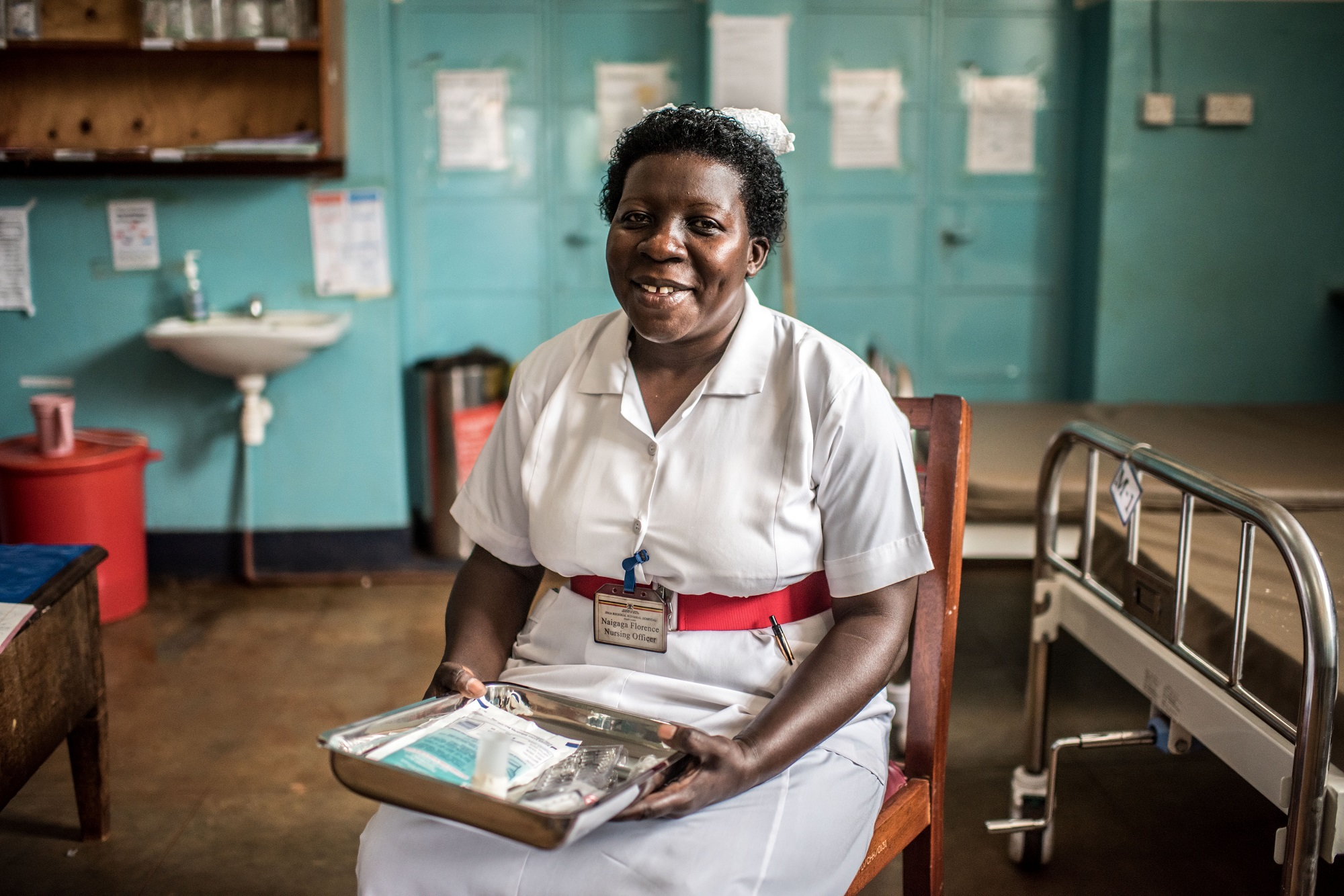 Naigaga Florence, a nursing officer, photographed in the emergecny ward at the Jinja Regional Referral Hospital.