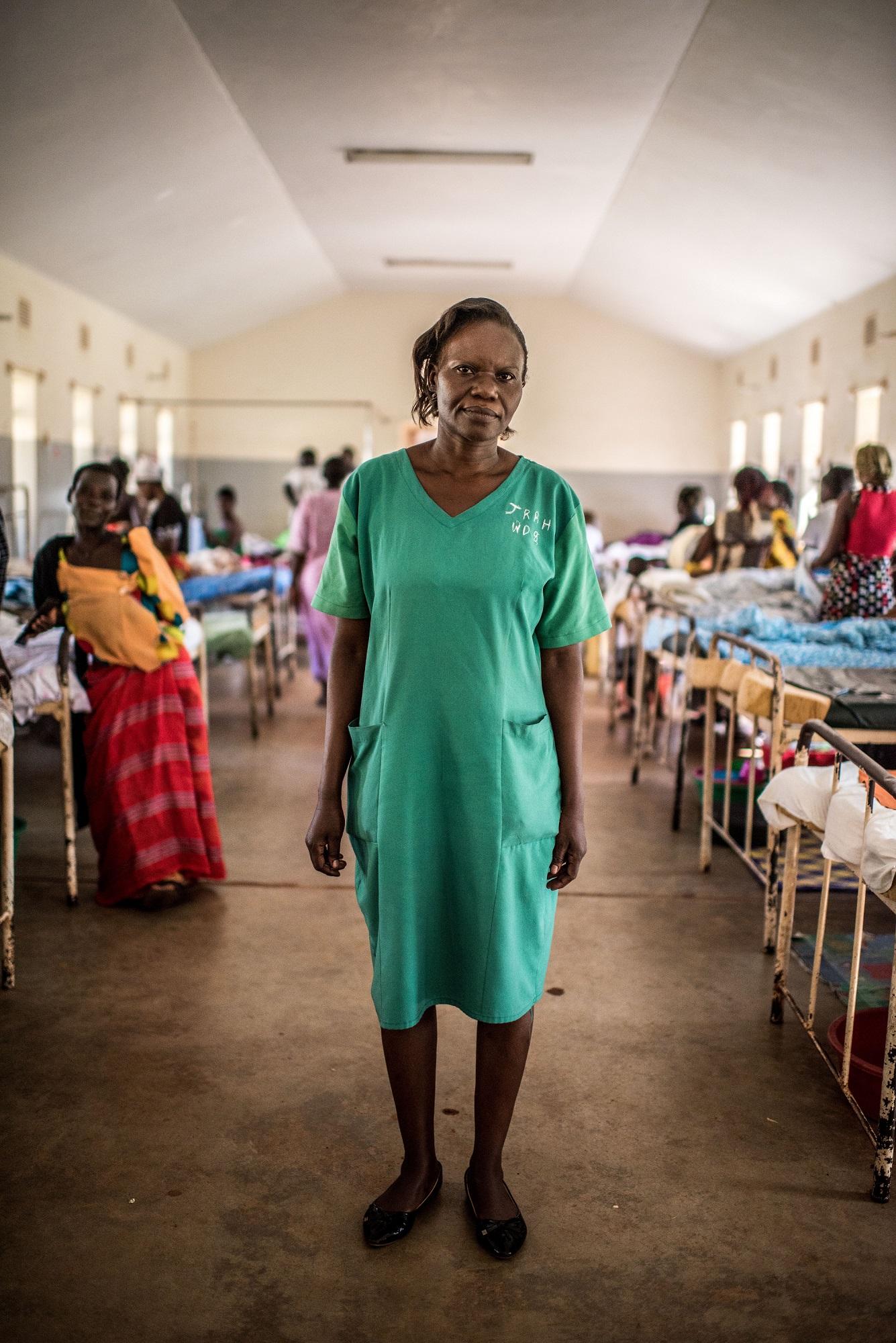 Midwife Mary Babiry photographed in the maternity ward of the Jinja Regional Referral Hospital in Jinja, Uganda.
