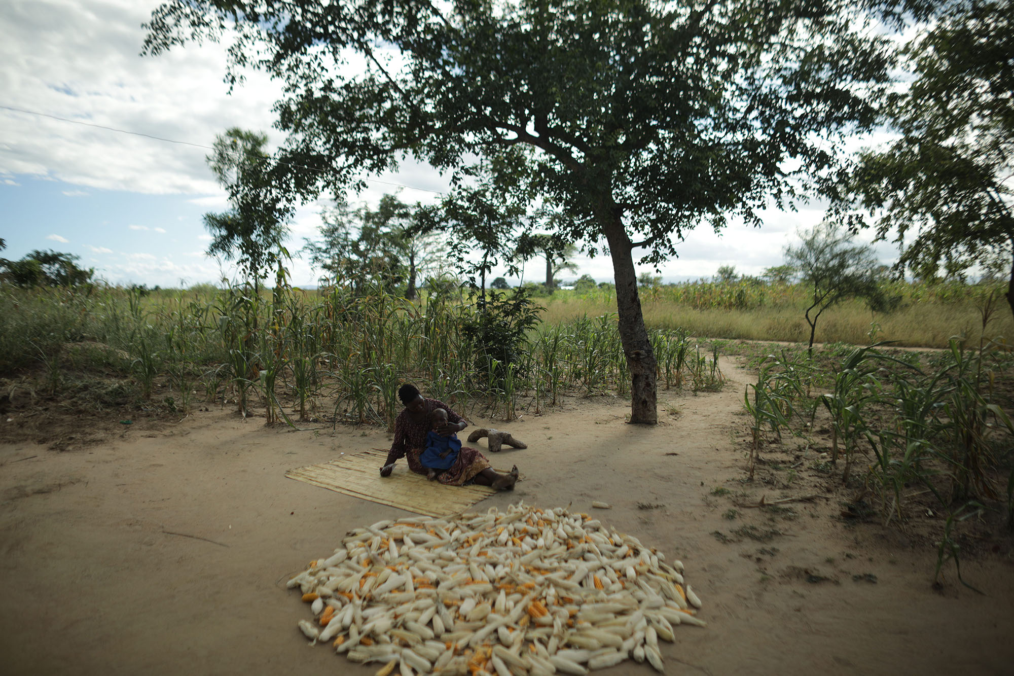 Mariam Chinguwo feeds plump nut to her daughter, Maness. Photo by Josh Estey.