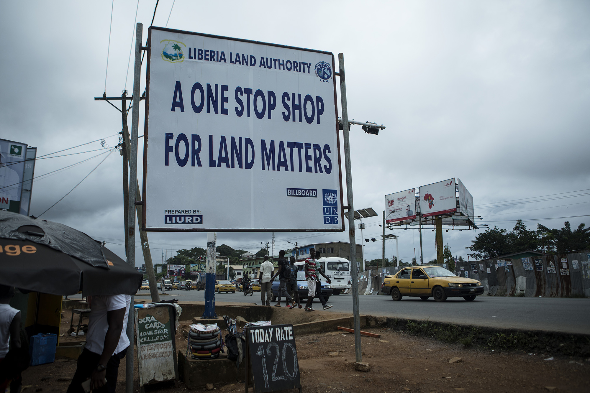 A Liberia Land Authority billboard is seen here on Tubman Blvd. in Monrovia. Photo by Sarah Grile.